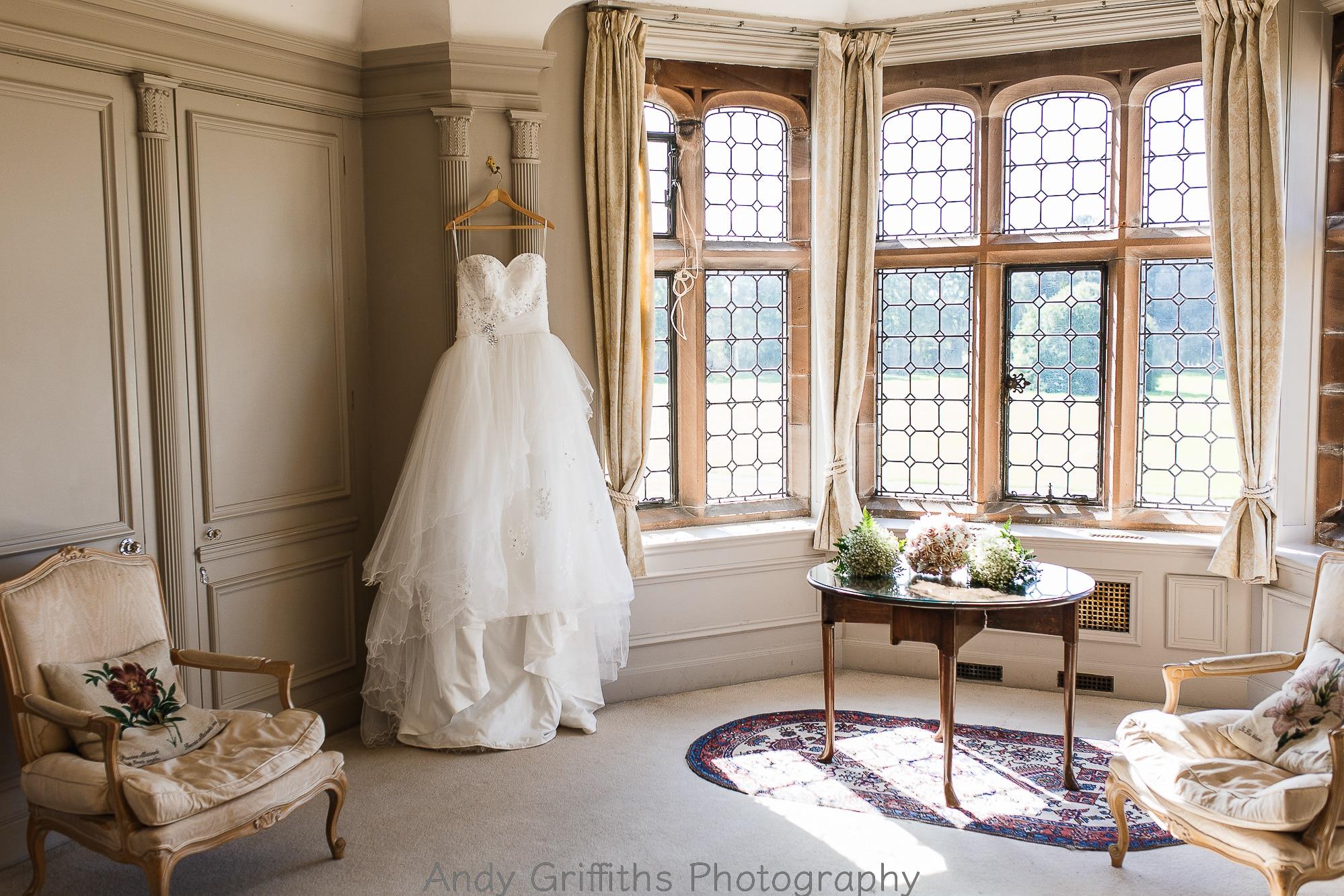 The wedding dress hanging in Thornton Manor