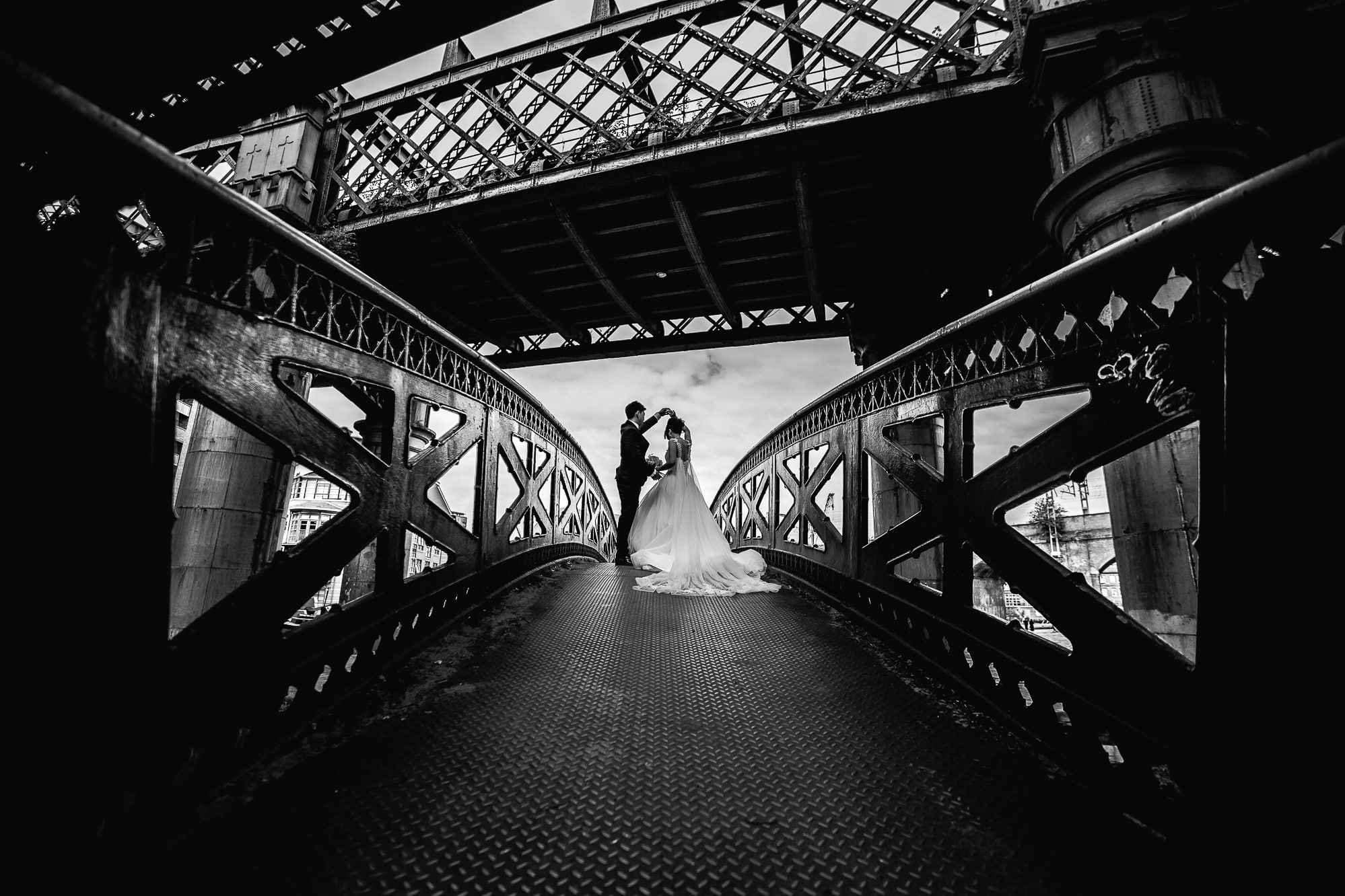 Bride and Groom practicing first dance at Castlefield