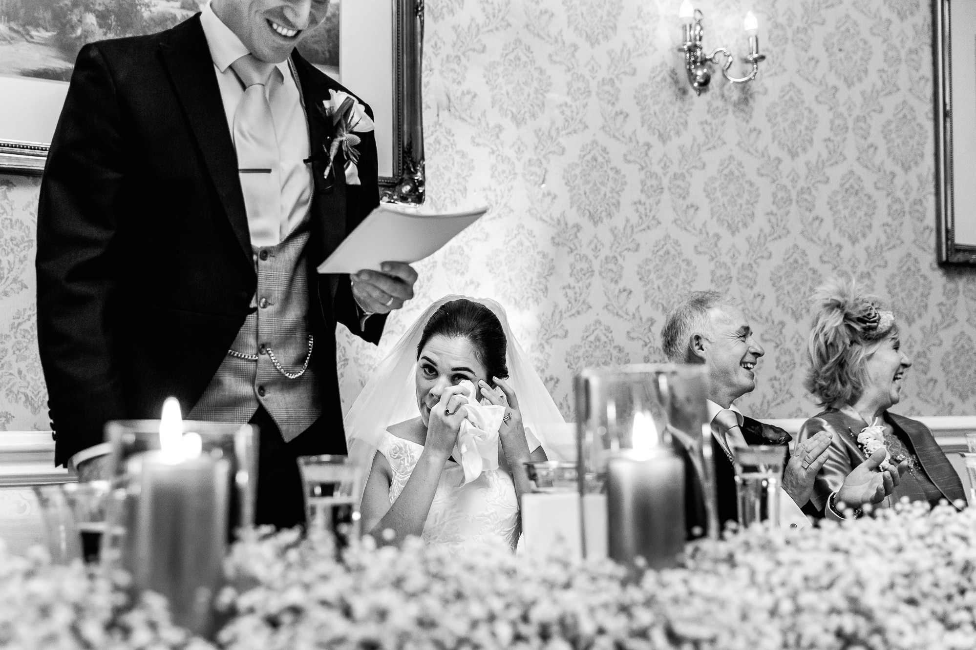 groom speech and bride cries