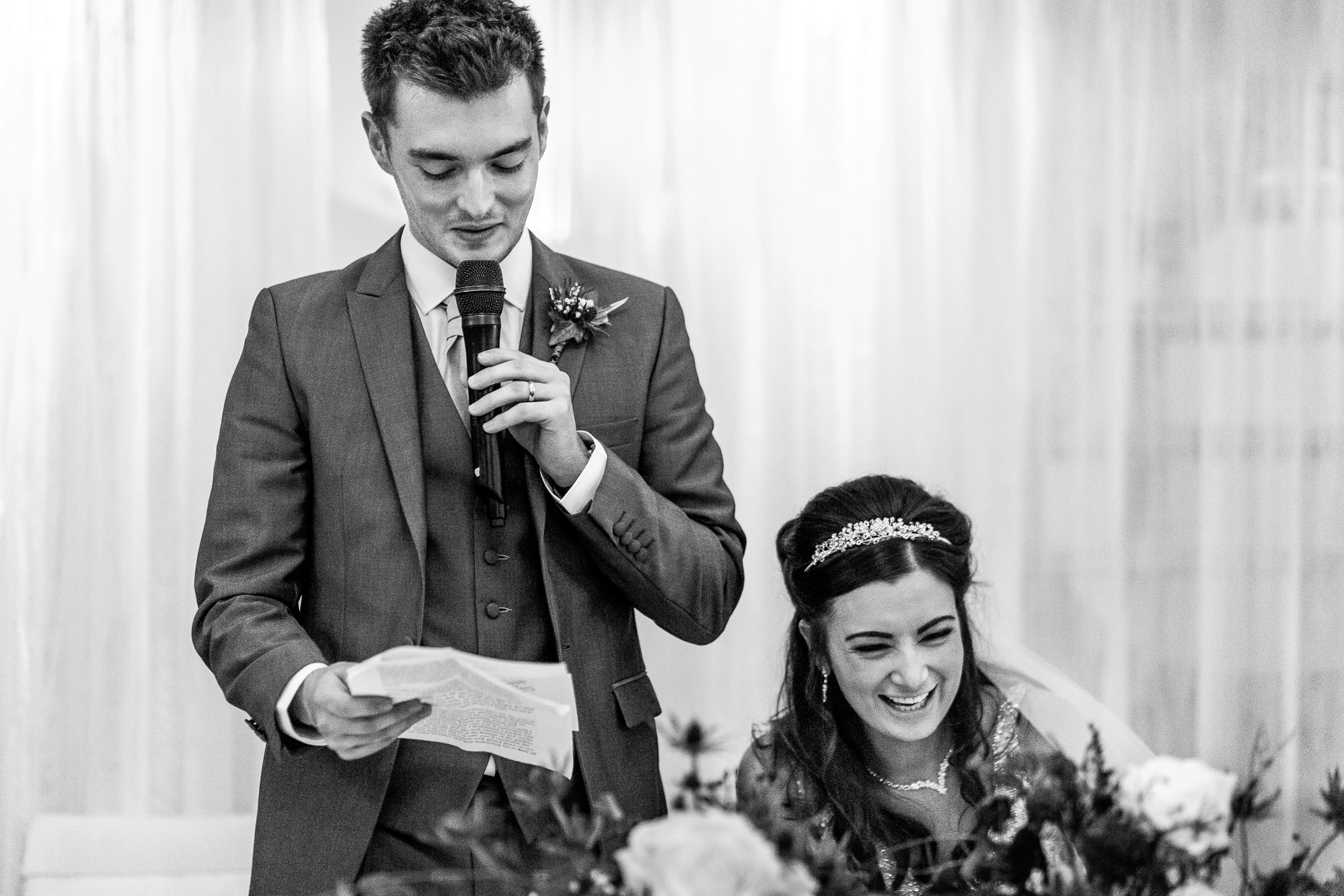 speech by groom and bride laughing at Stanley house