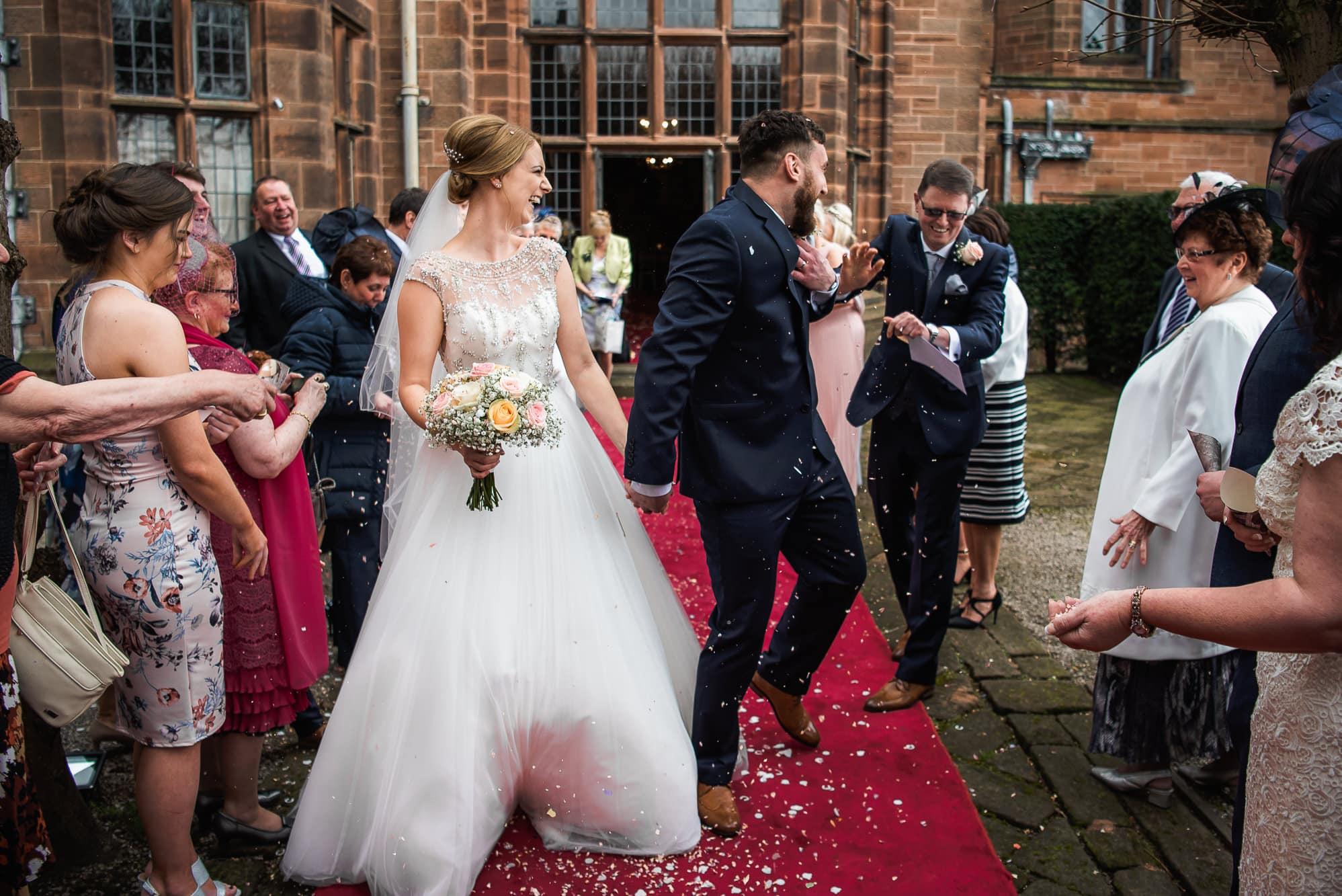 Confetti over groom