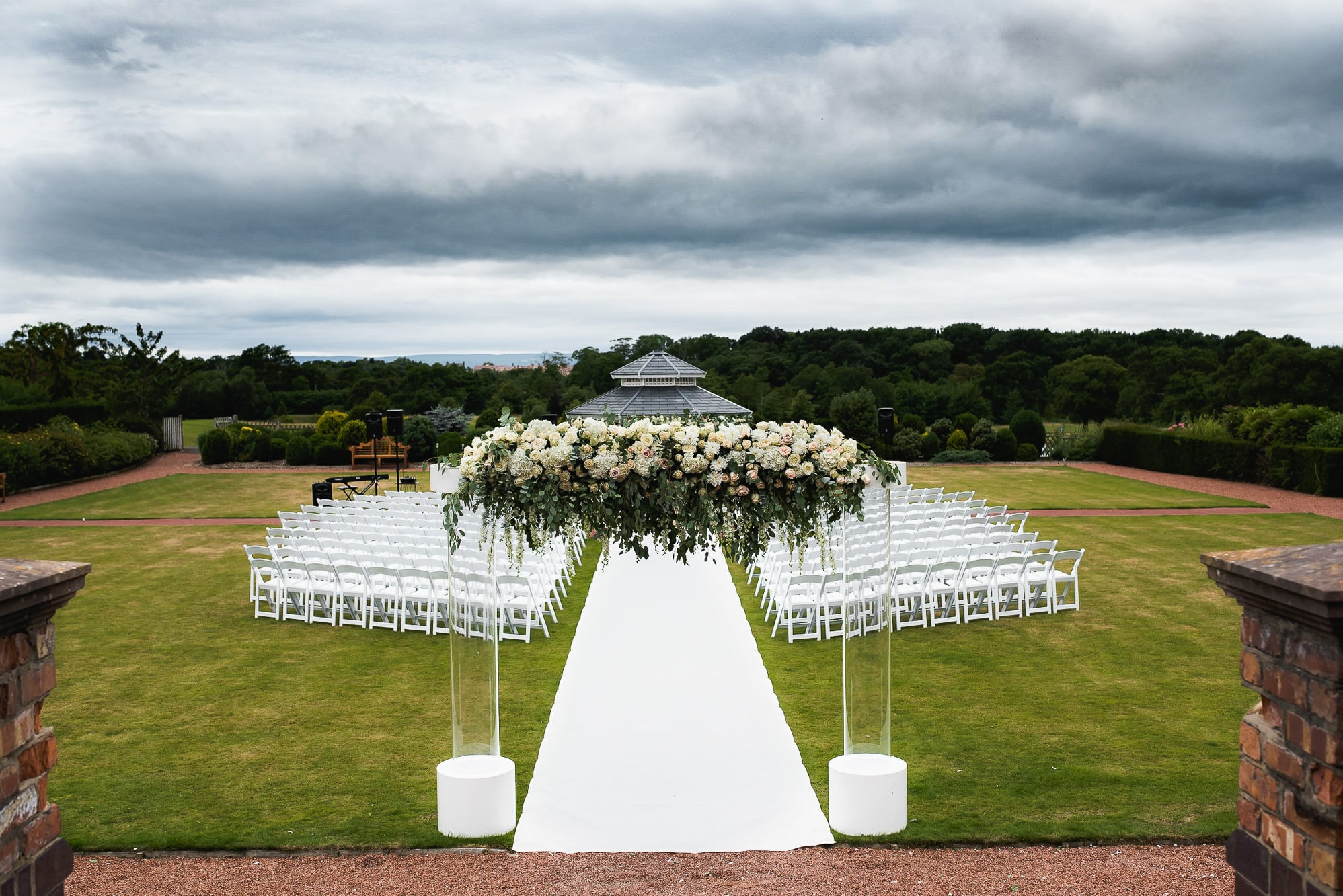 Wedding venue with red floral architecture