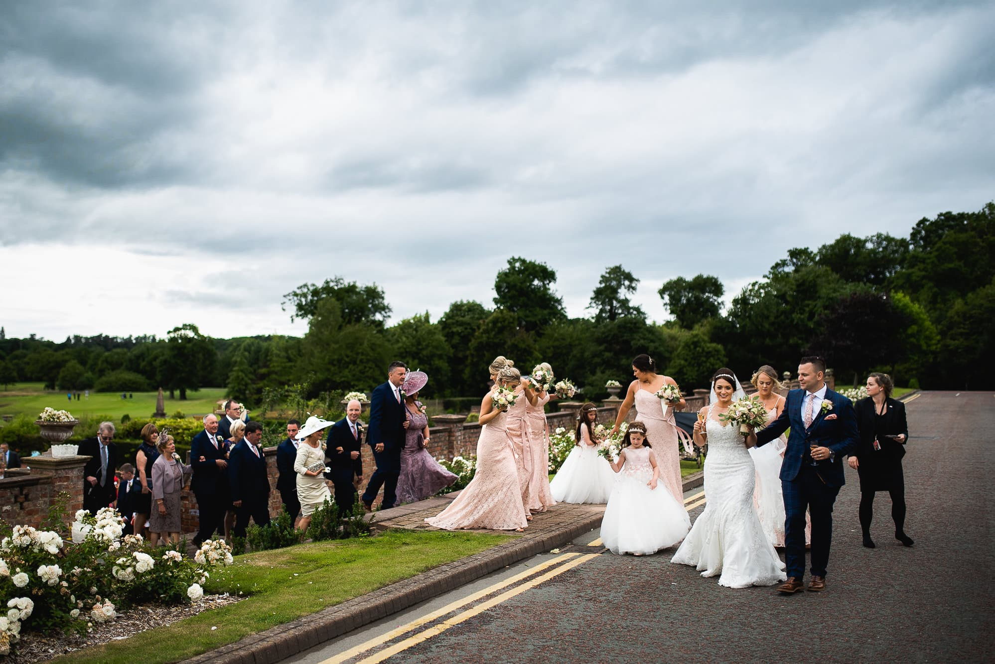 Guests walking to reception drinks