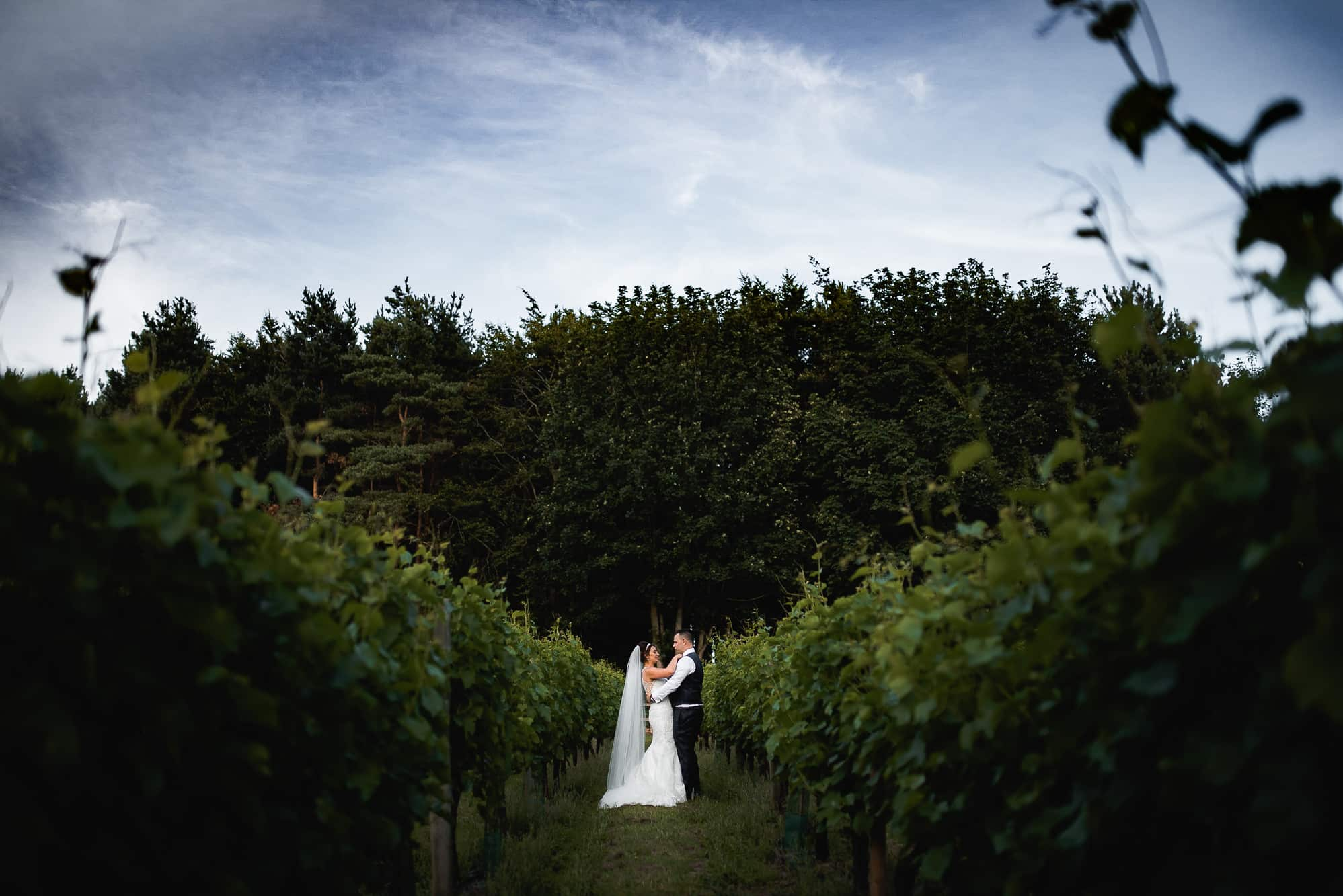 Bride and groom in the winery