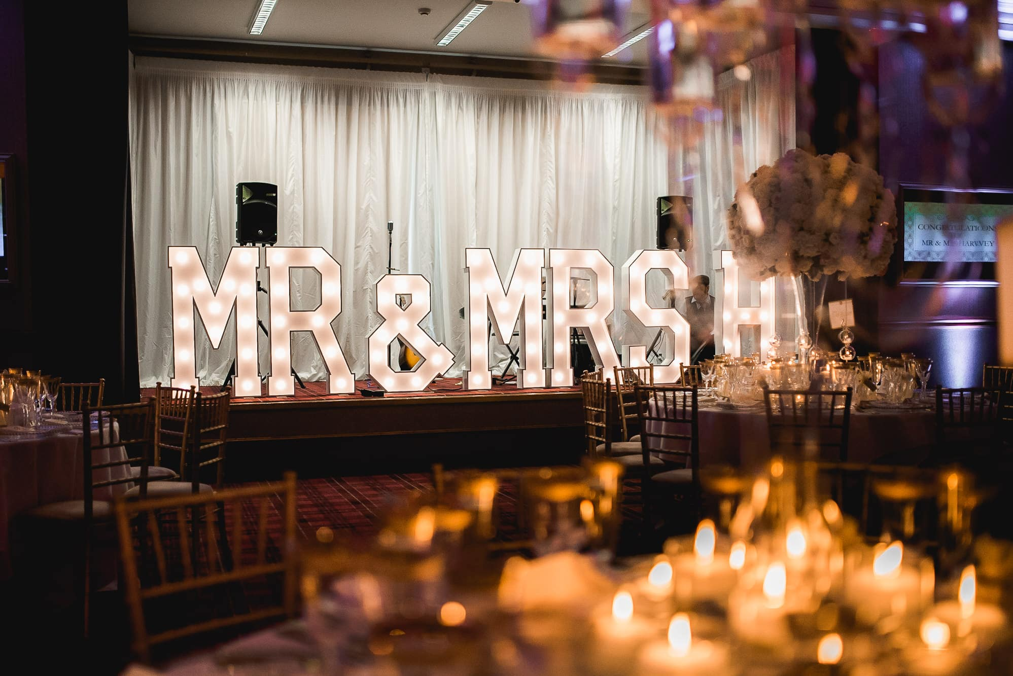 Mr and Mrs sign and red floral boutique flowers