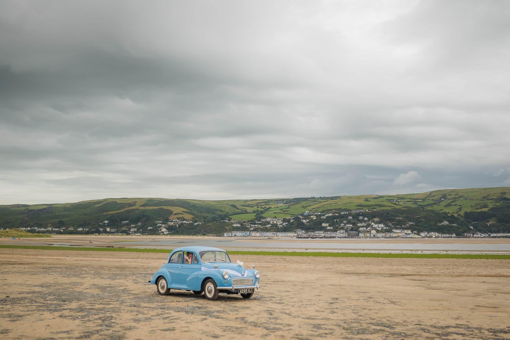 Morris Minor car in Ynyslas