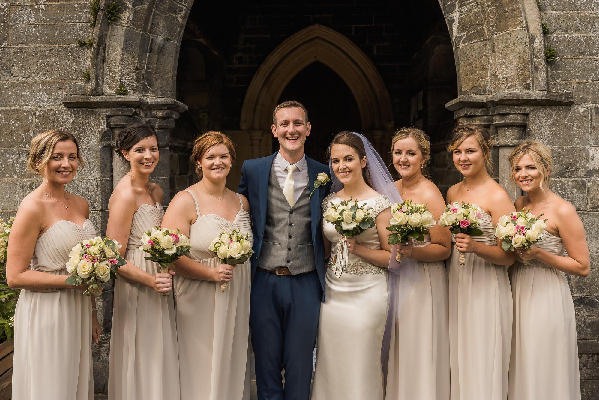 bride groom and bridesmaids