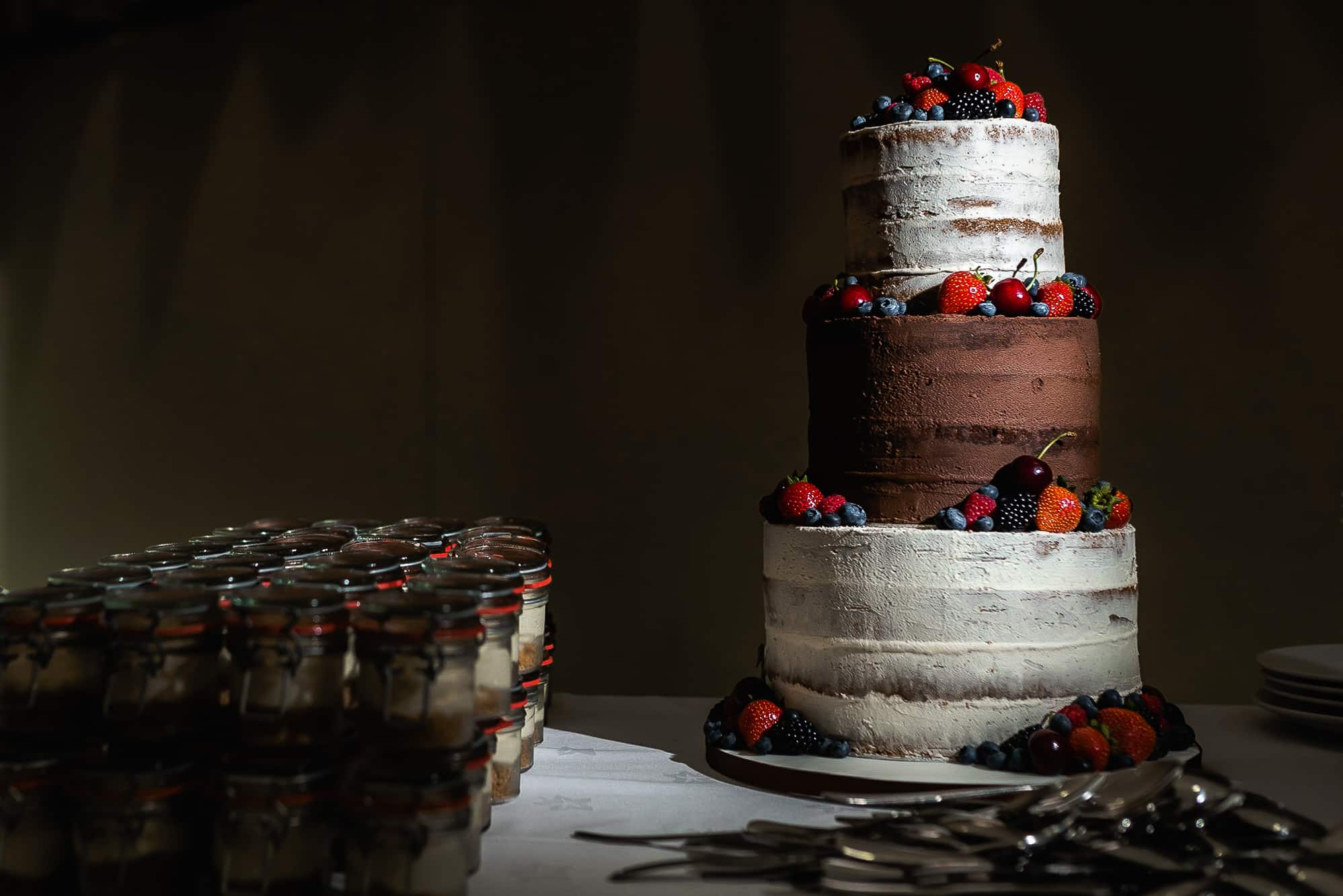 wedding cake lit with flash