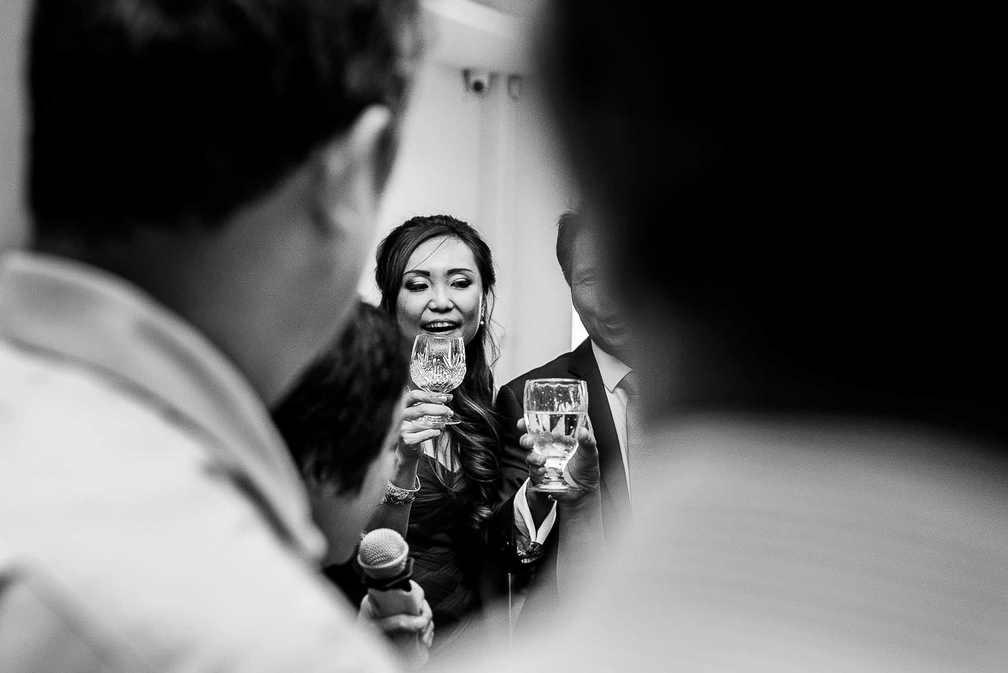 Bride with a drink