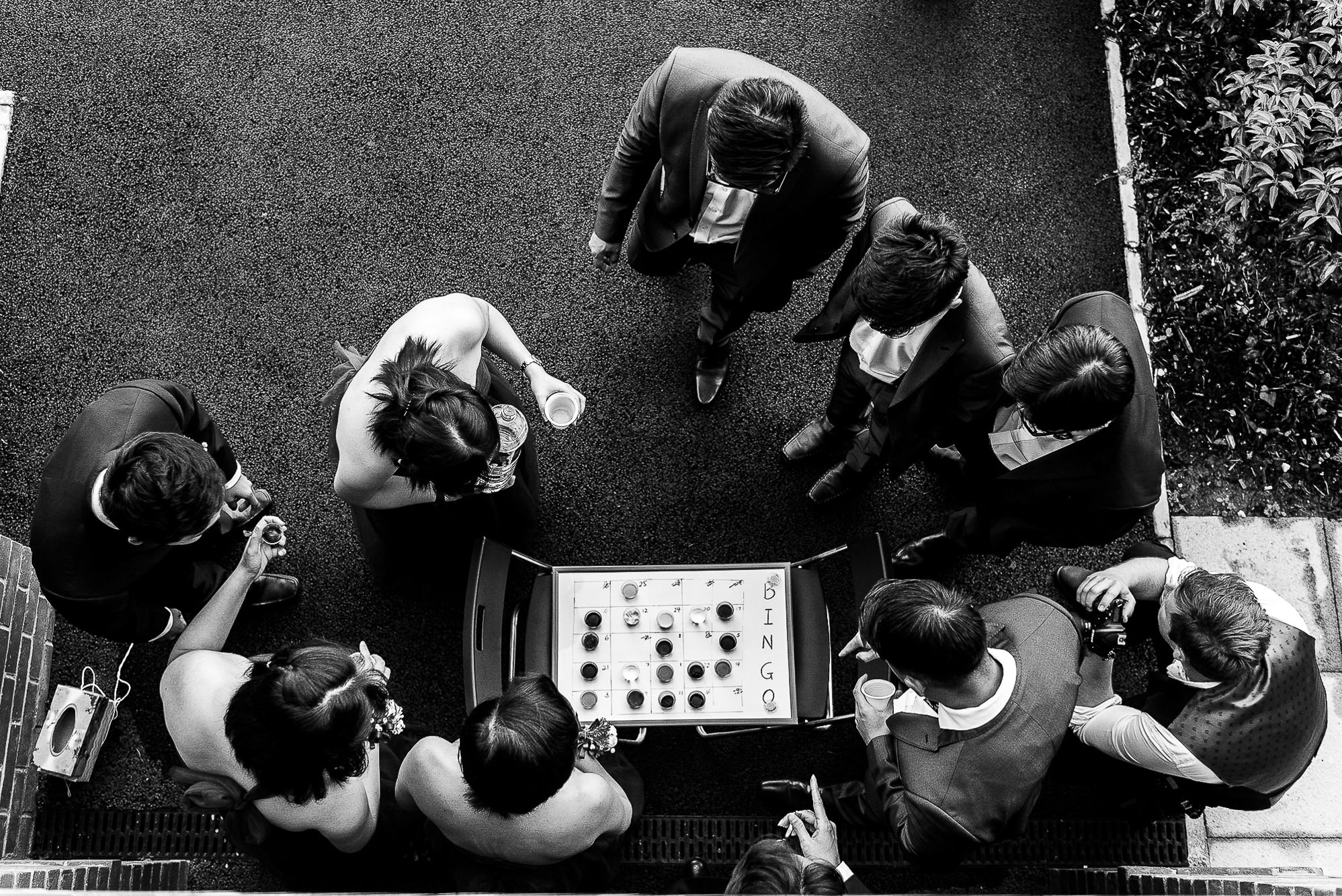Shot from above of people playing game