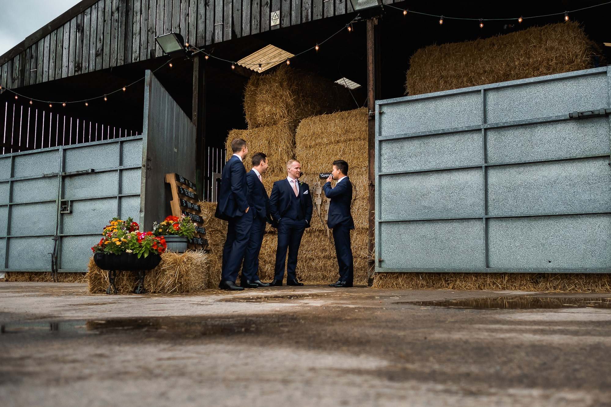Groomsmen waiting at farm