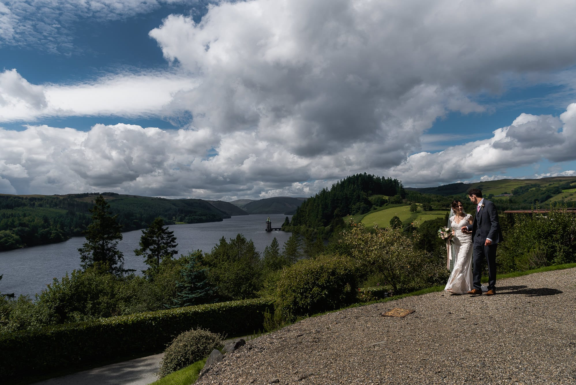 Bride and groom at lake vrynwy
