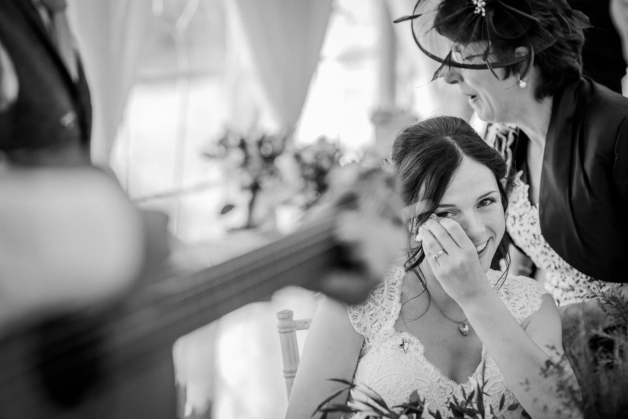 Bride crying during song
