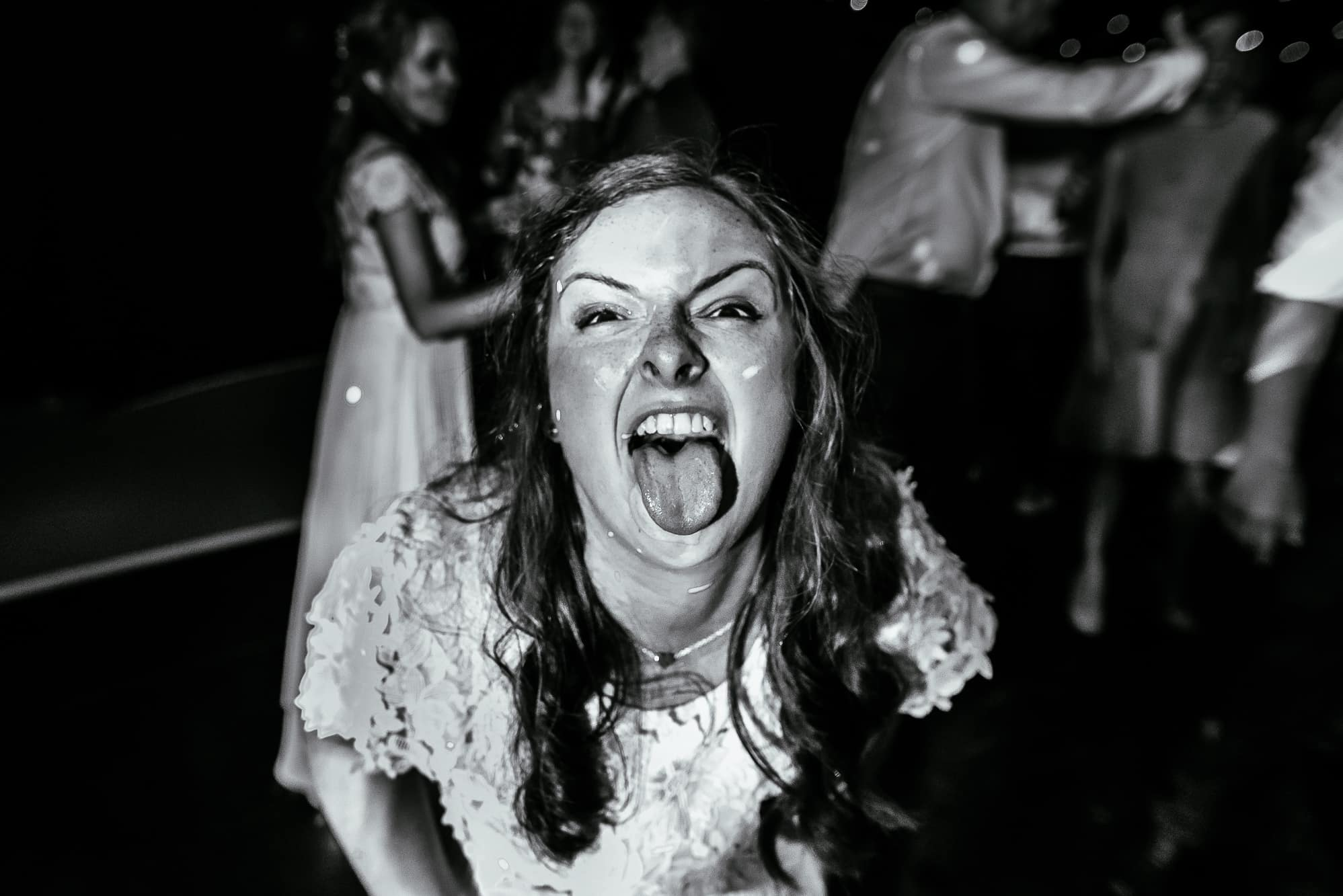 Bridesmaid pulling a face