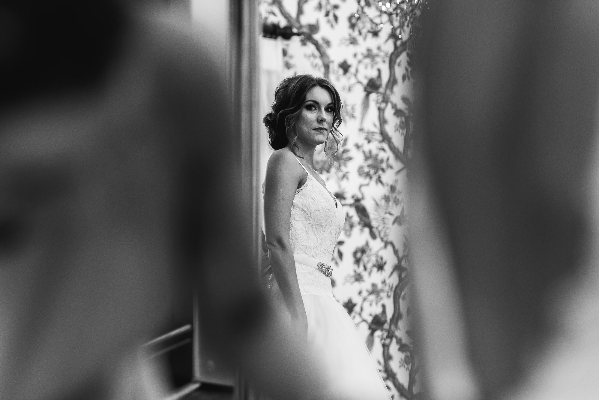 Final look in the mirror for the bride