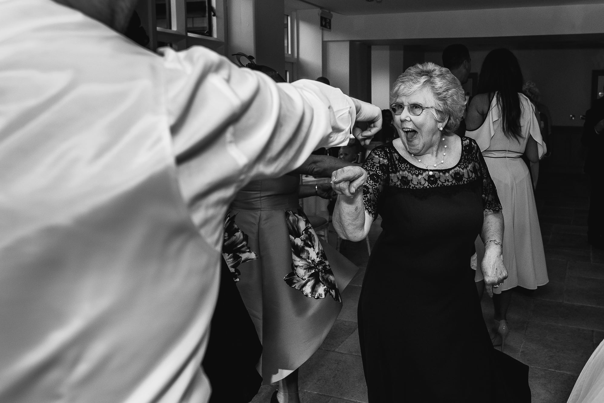 Gran dancing and pulling faces at Tyn Dwr Hall