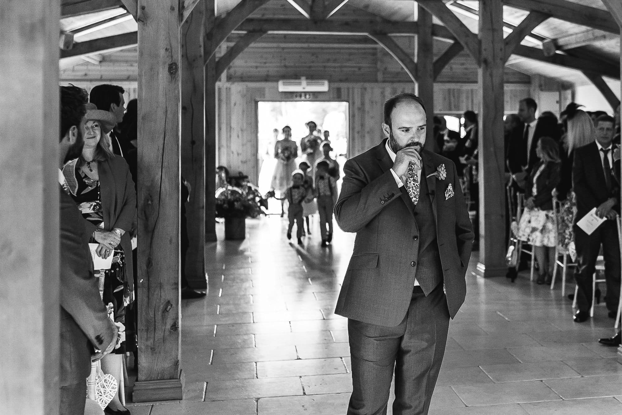Groom waiting at Colshaw Hall