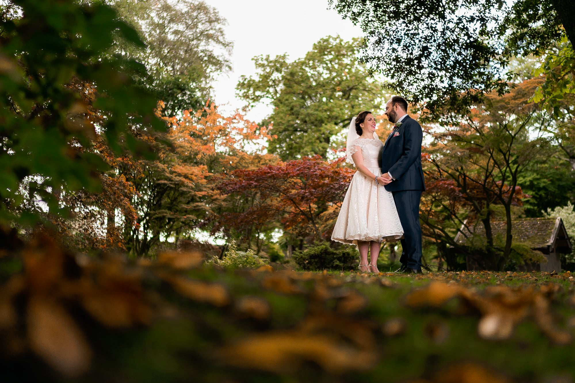 Bride and groom cuddling at Colshaw Hall