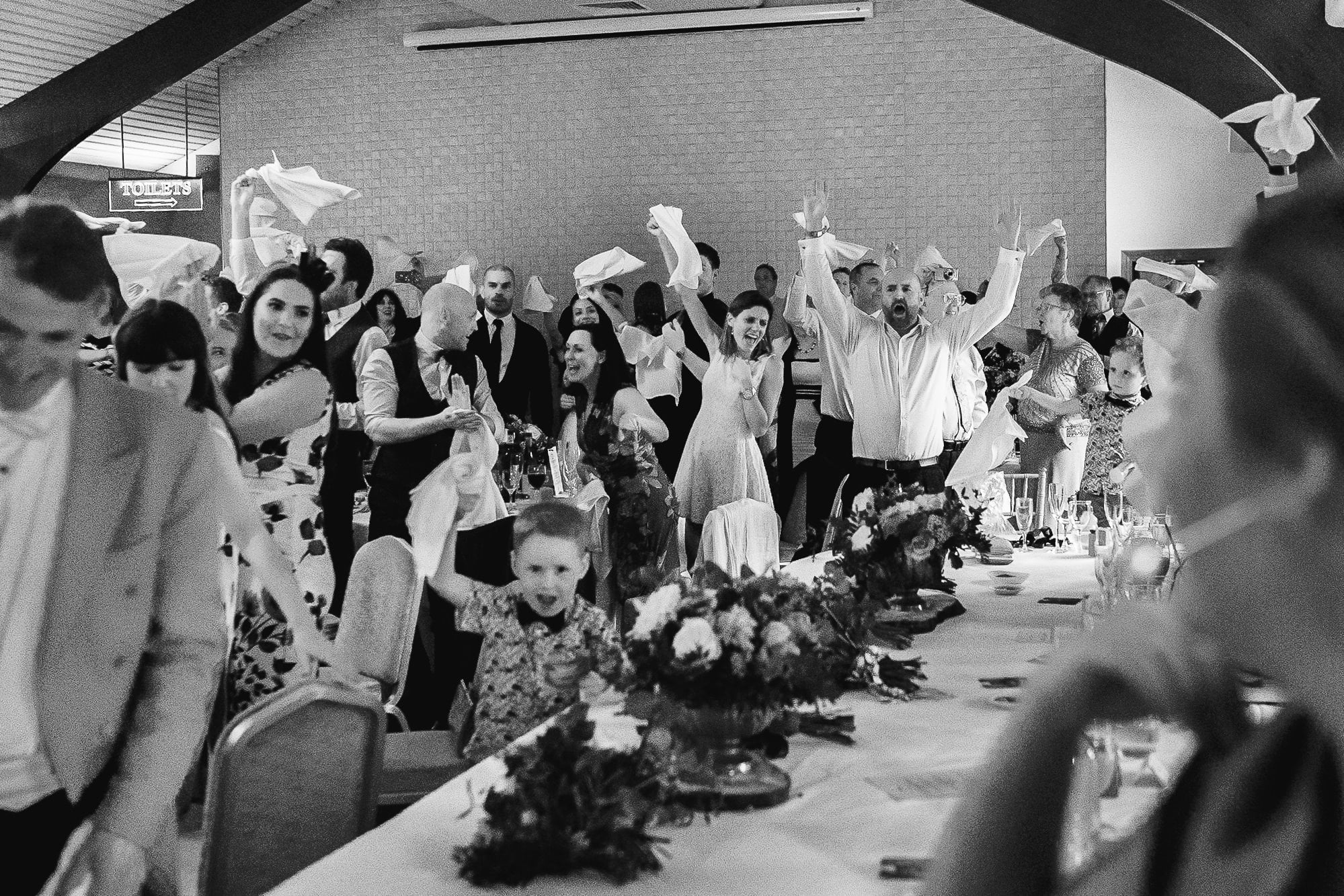 Guests at the wedding breakfast at Colshaw Hall