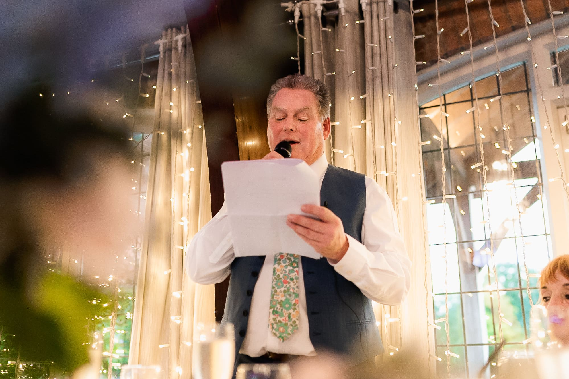 Father of the bride talking at Colshaw Hall