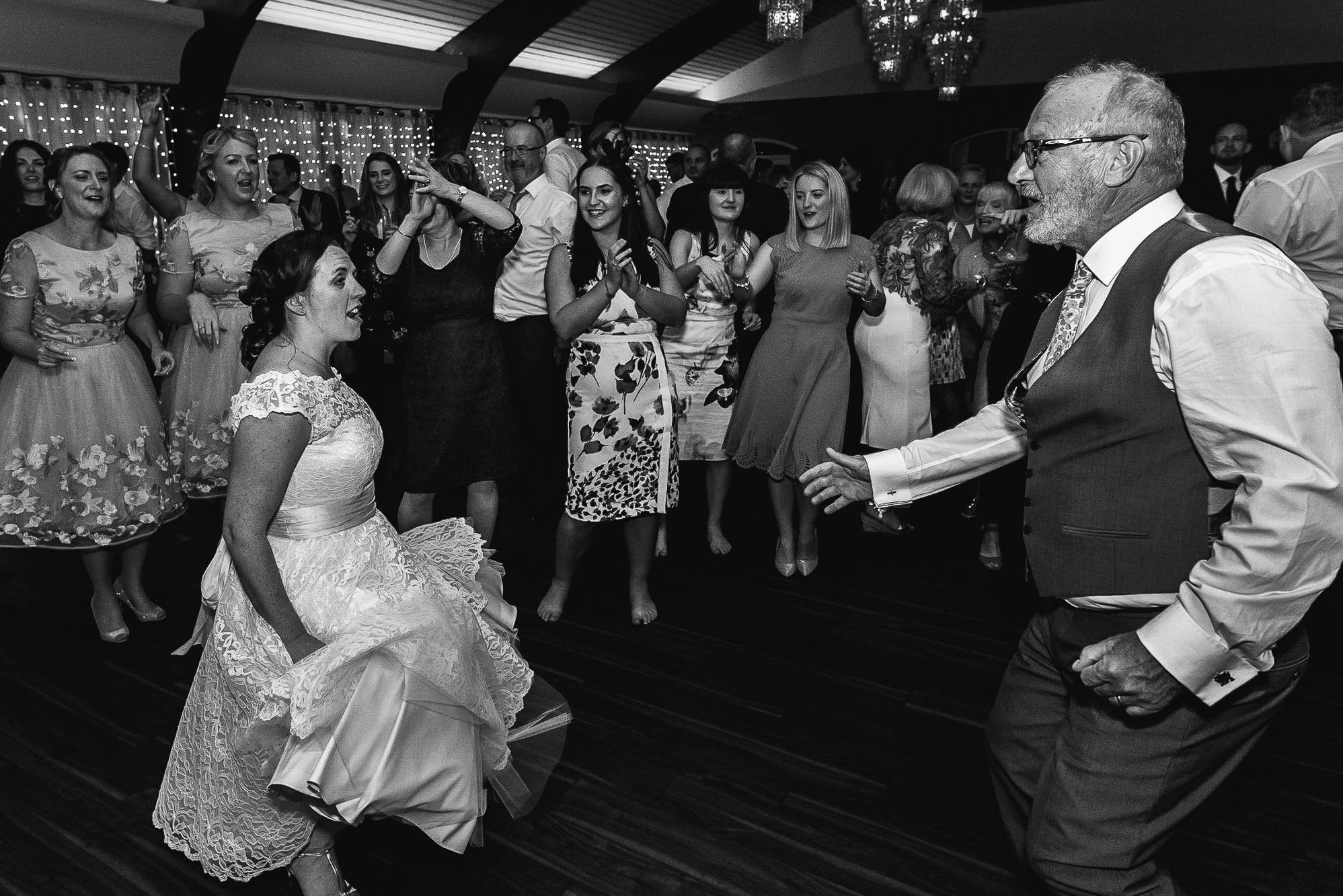Bride and her dad dancing at Colshaw Hall
