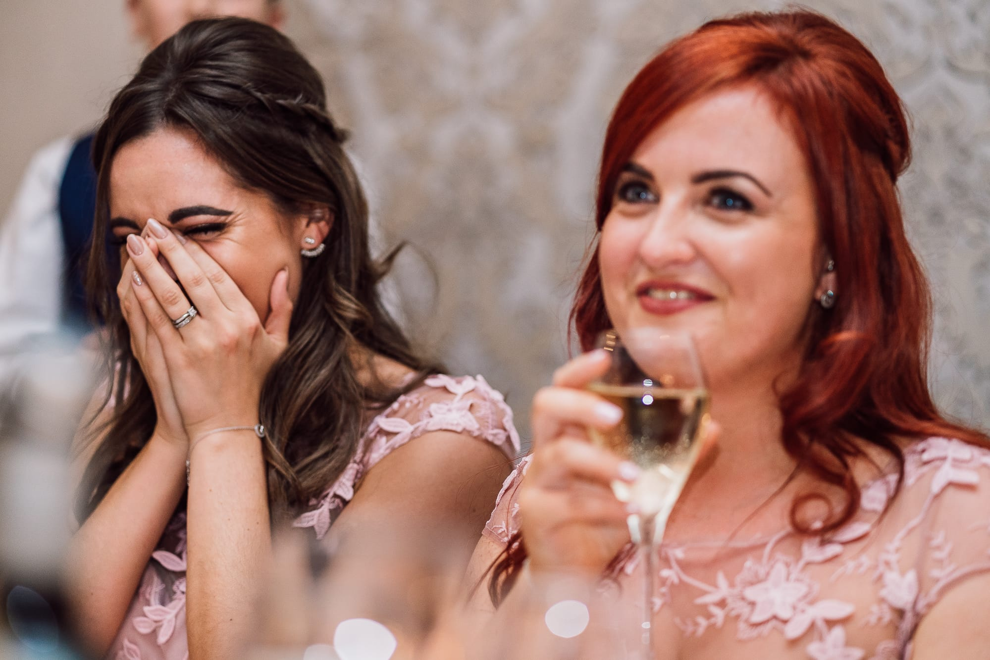bridesmaids crying at Mottram Hall