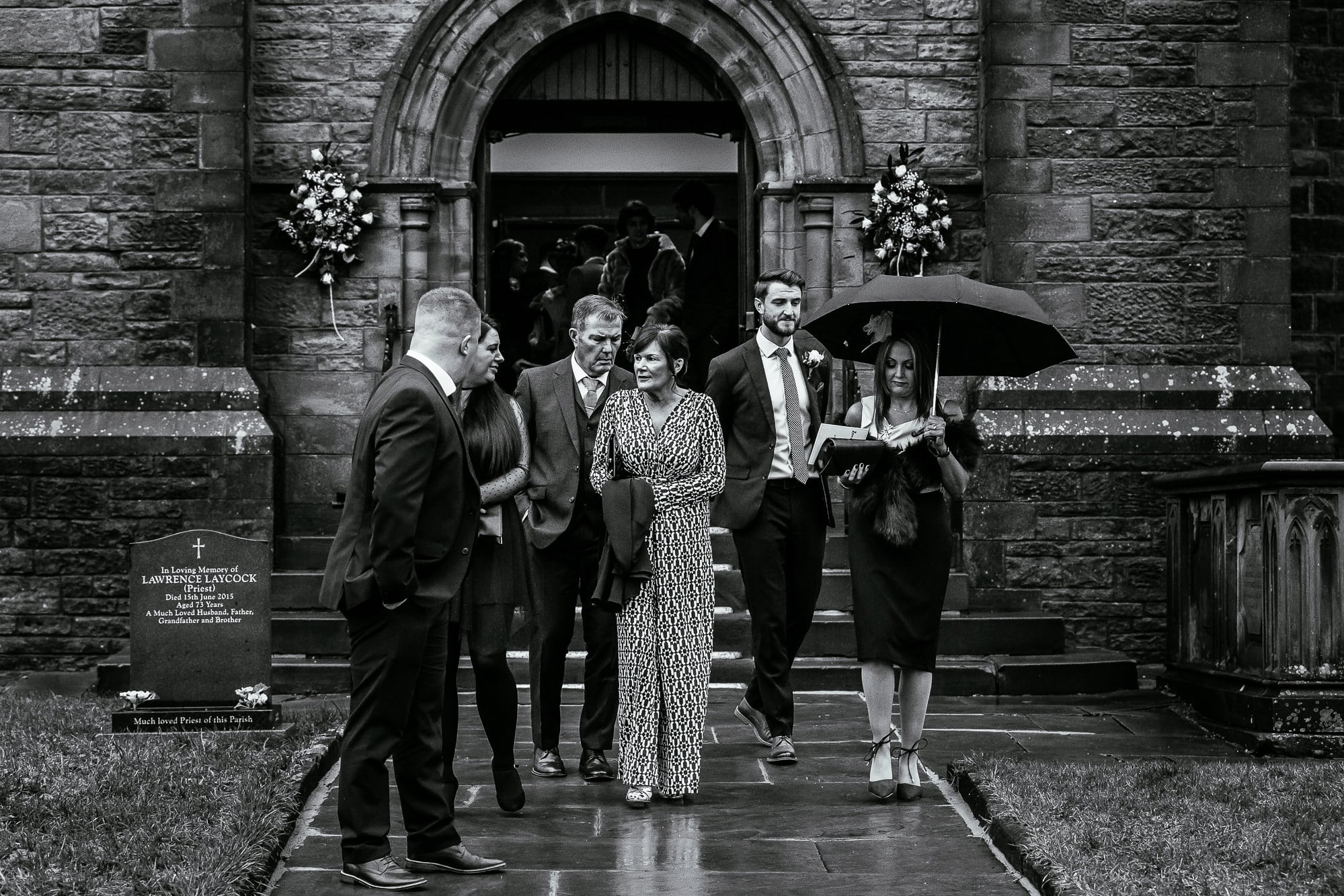 Guests leaving the church