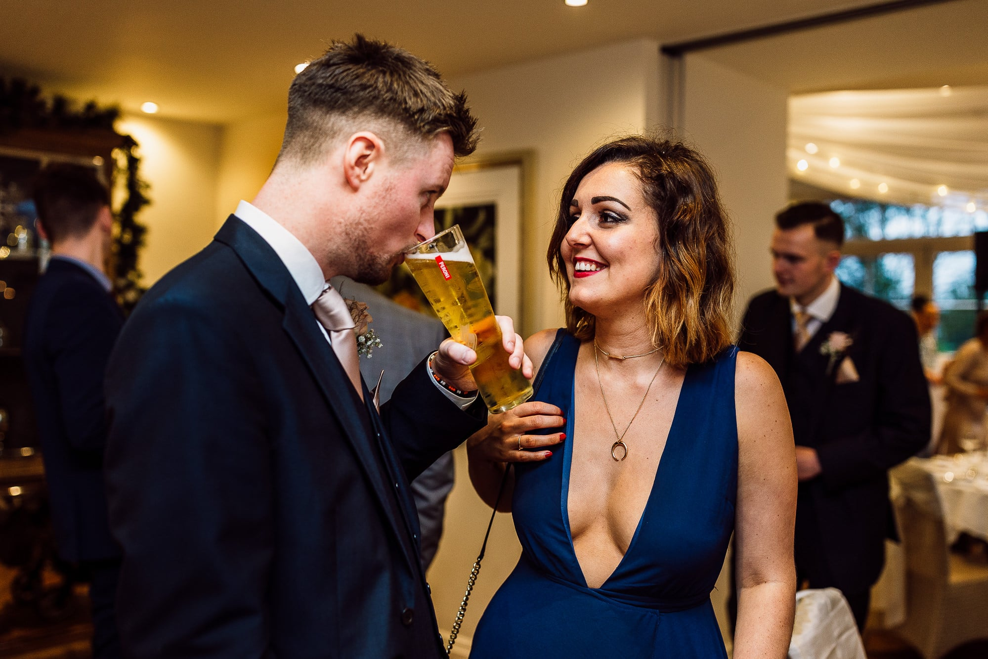 Guests talking during reception drinks