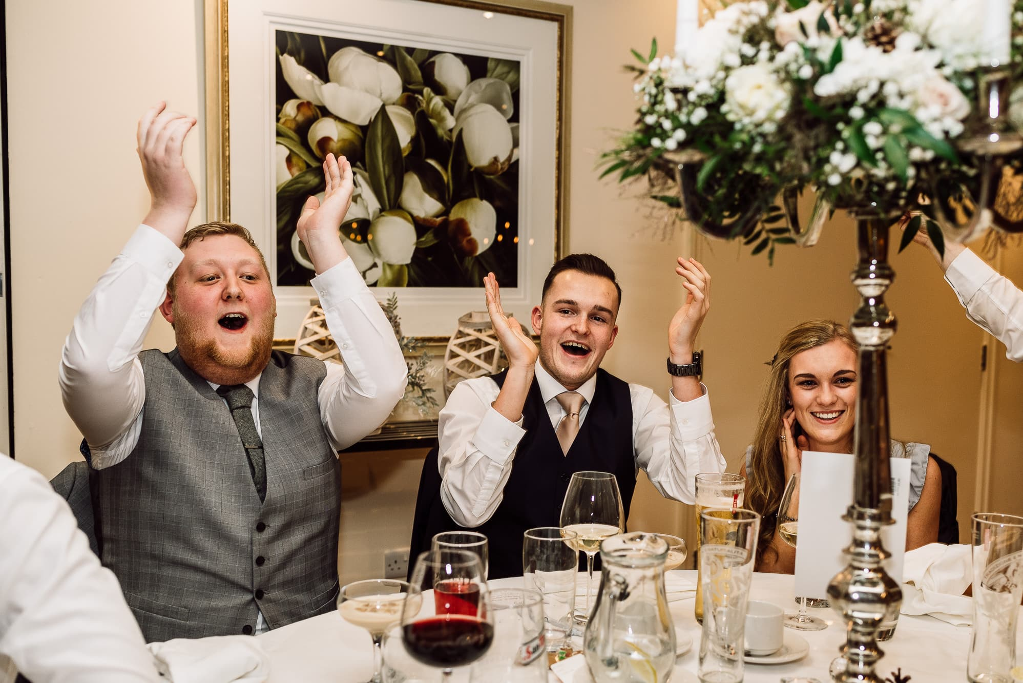 Guests clapping at Mitton Hall