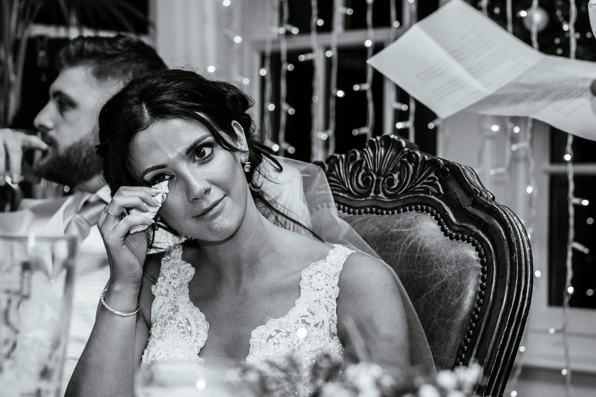 Bride crying at Mitton Hall