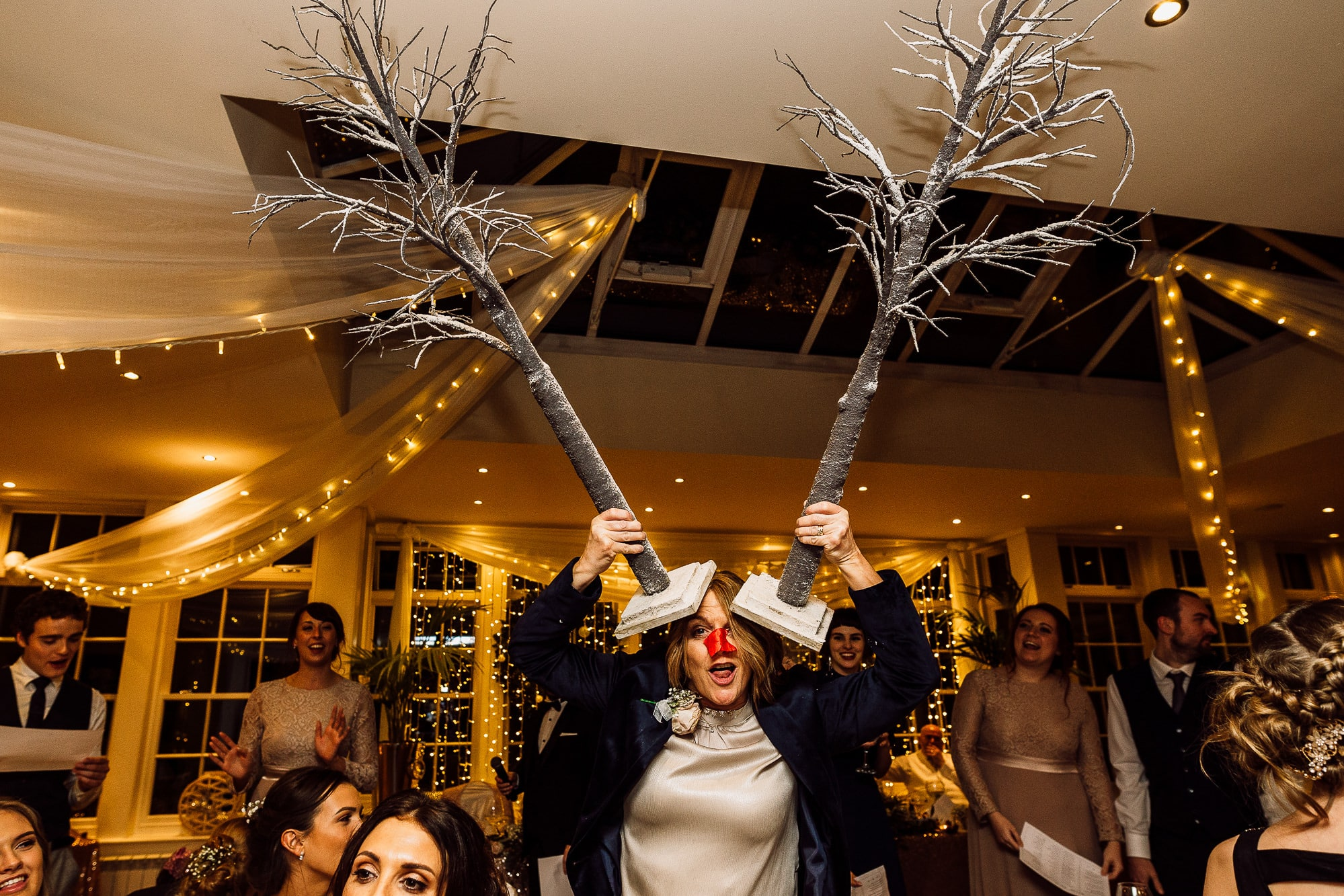 Woman pretending to be a reindeer at Mitton Hall