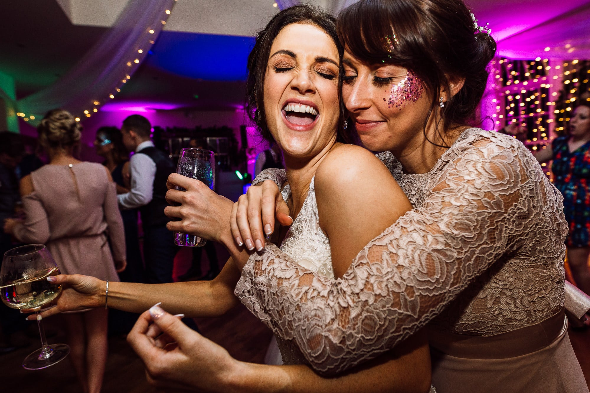 Bride and bridesmaid at Mitton Hall