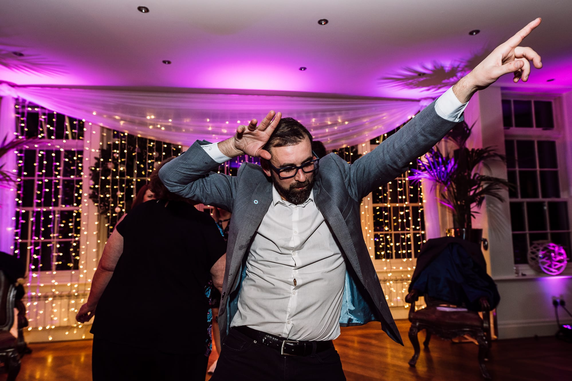 male Guest dancing at Mitton hall