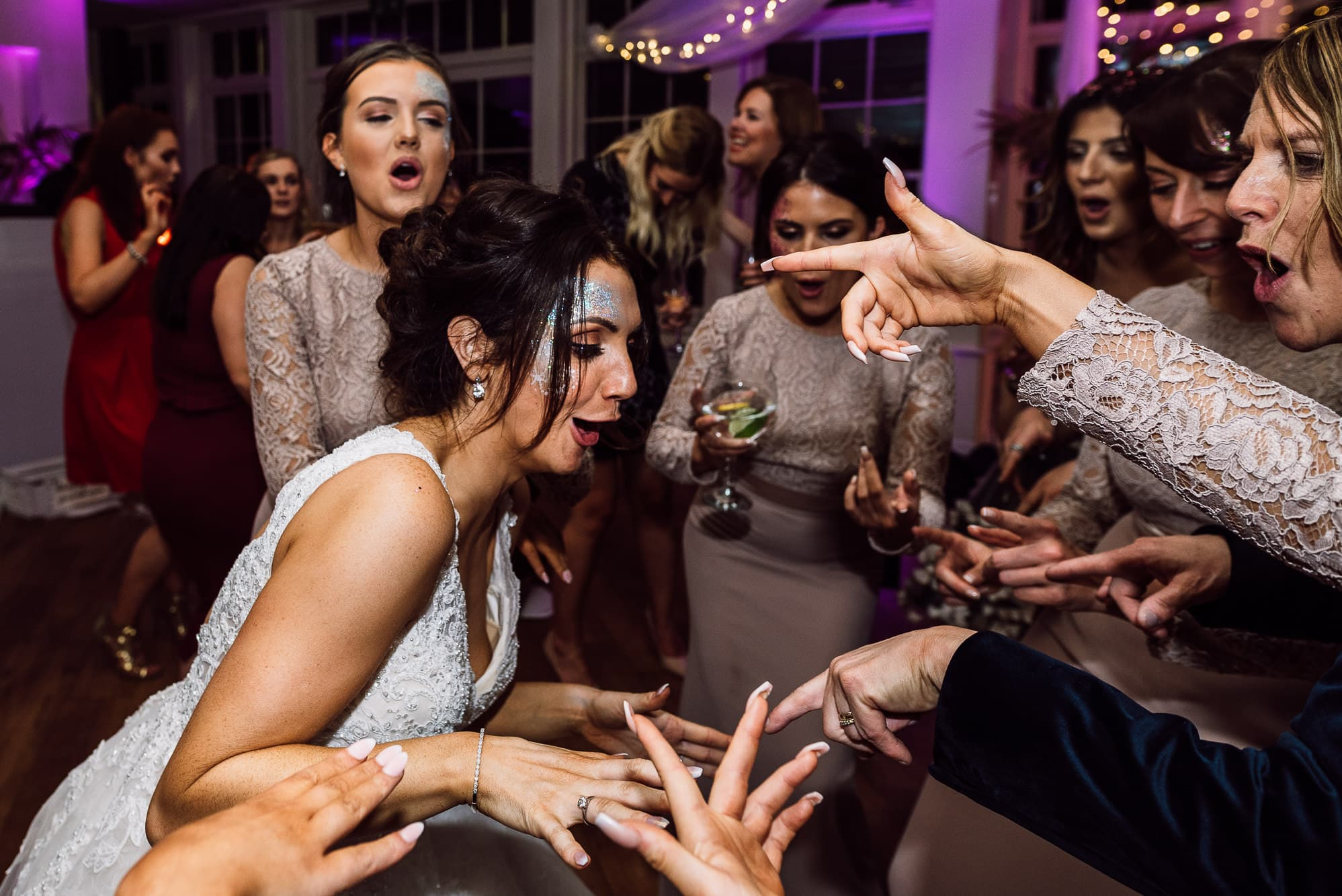 Bride crazy dancing at Mitton hall