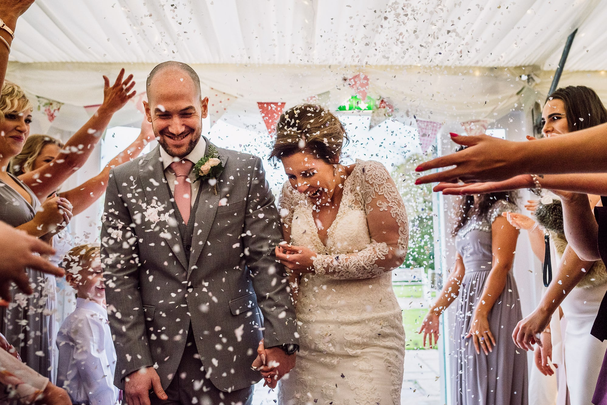 Confetti shot at the marquee at Hilltop Country House