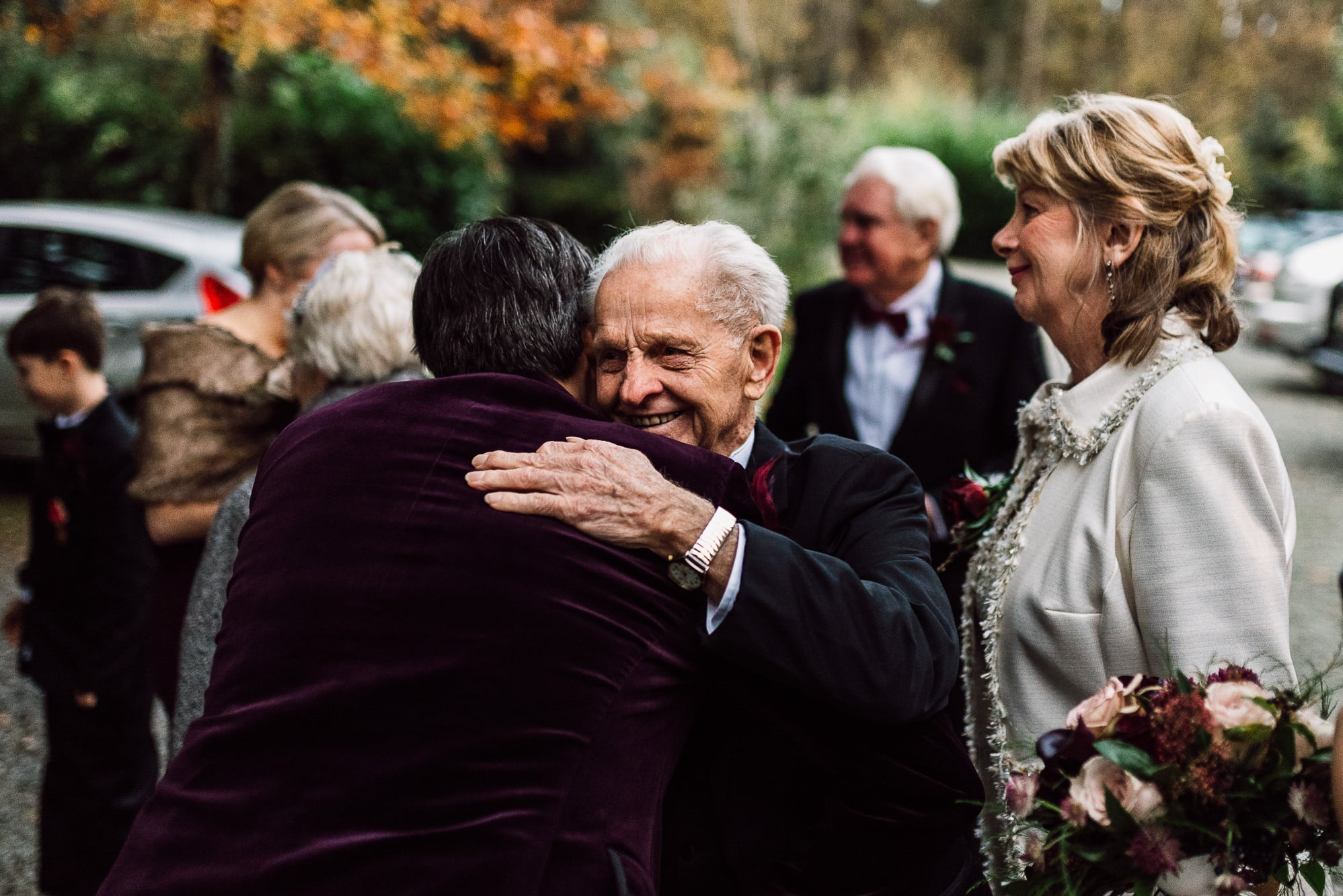 Groom hugging his dad at Trevor Hall Church