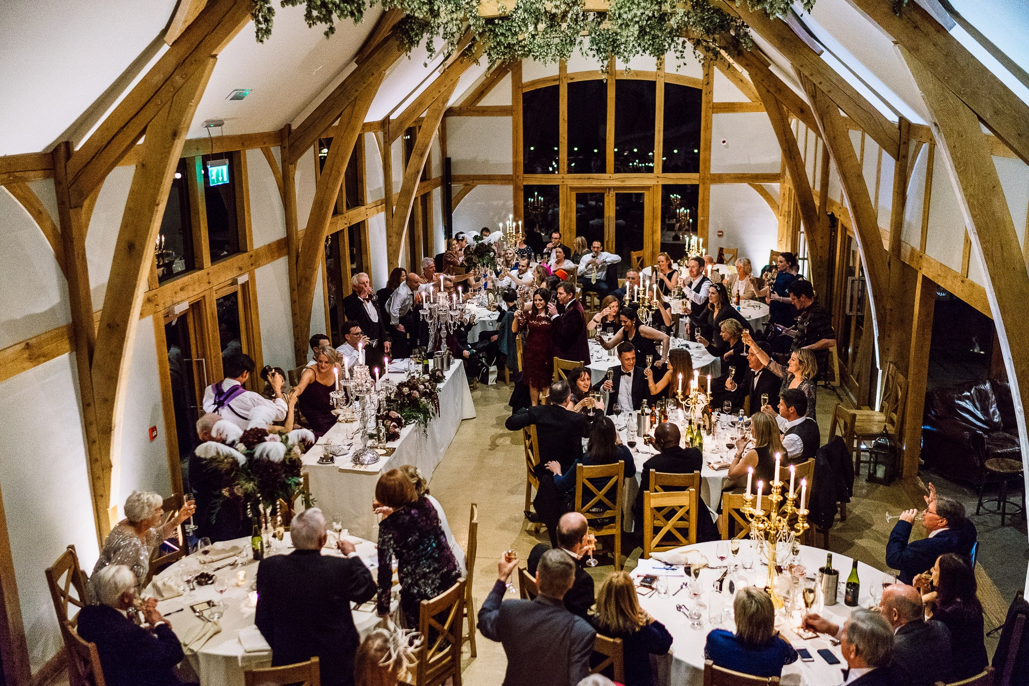 Wedding breakfast room at Tower Hill Barns