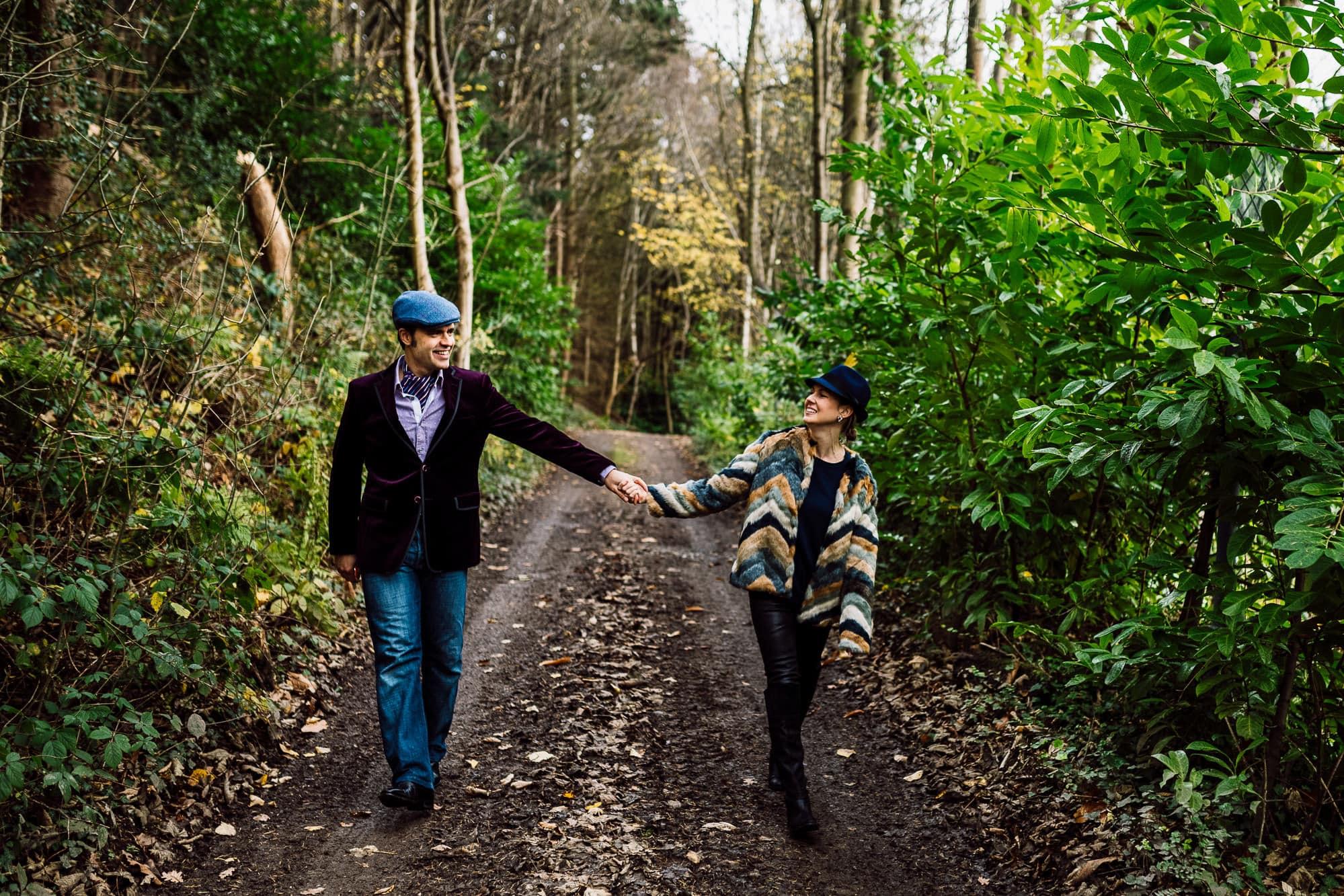 Couple walking at Trevor Hall