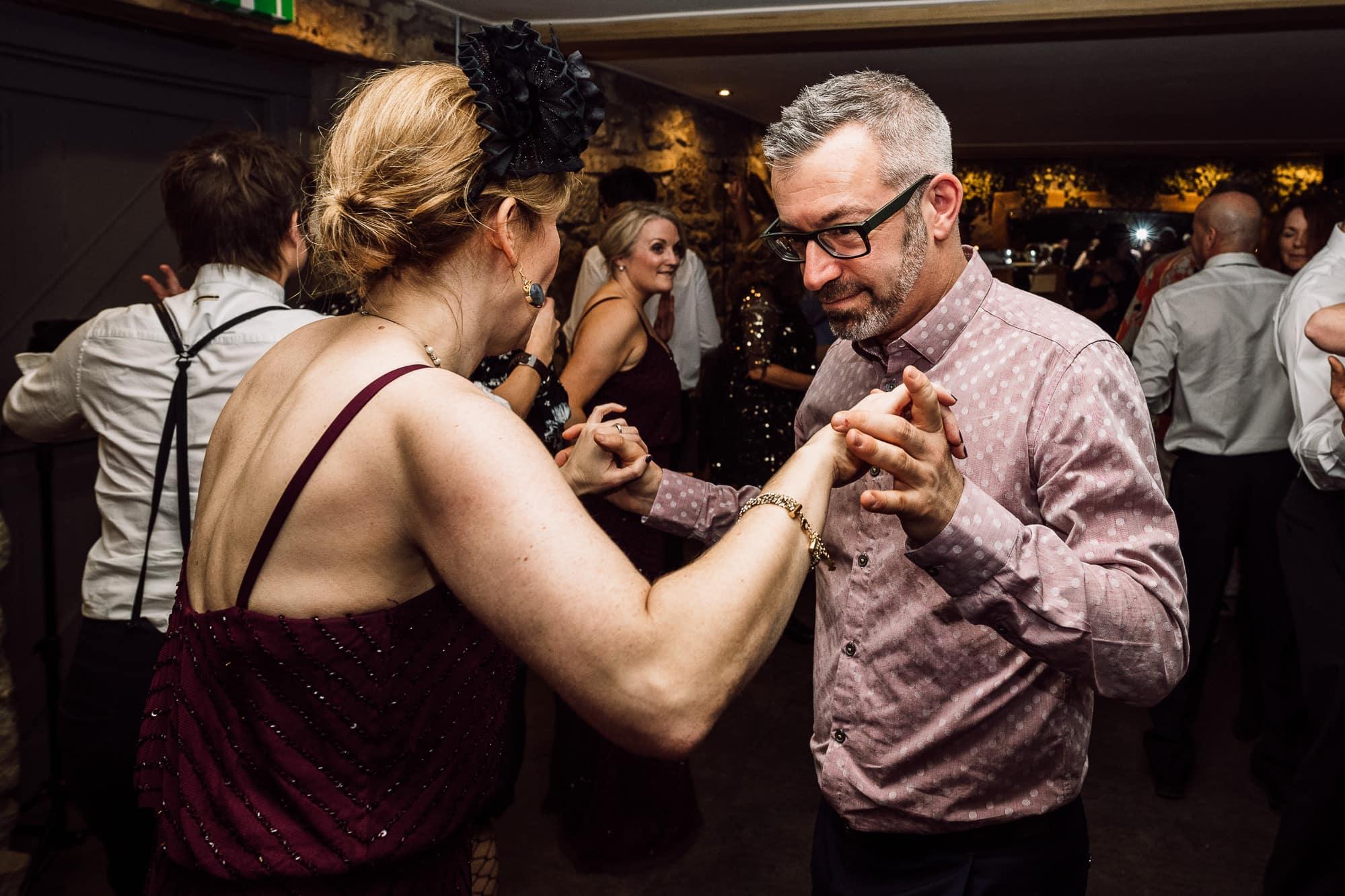 Guests dancing at Tower Hill Barns