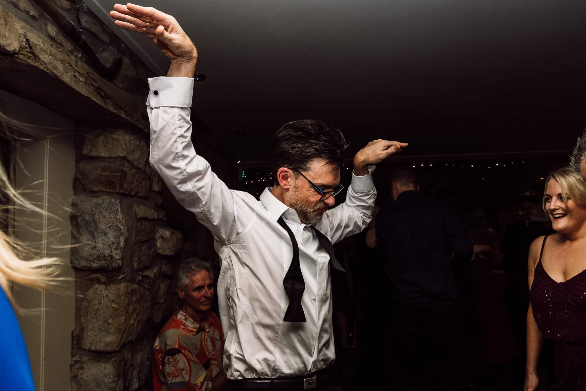 Best man dancing at Tower Hill Barns