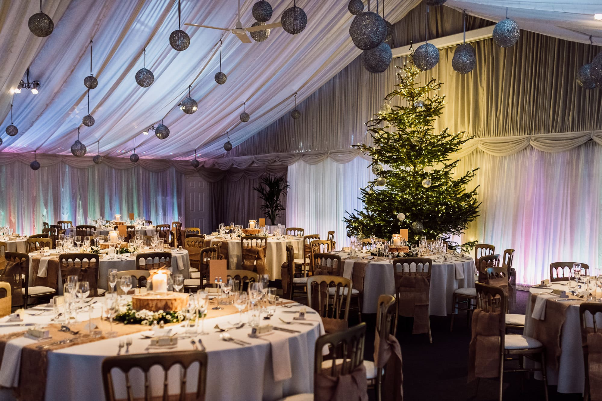 Wedding Breakfast Room at Heaton House Farm with a Christmas tree