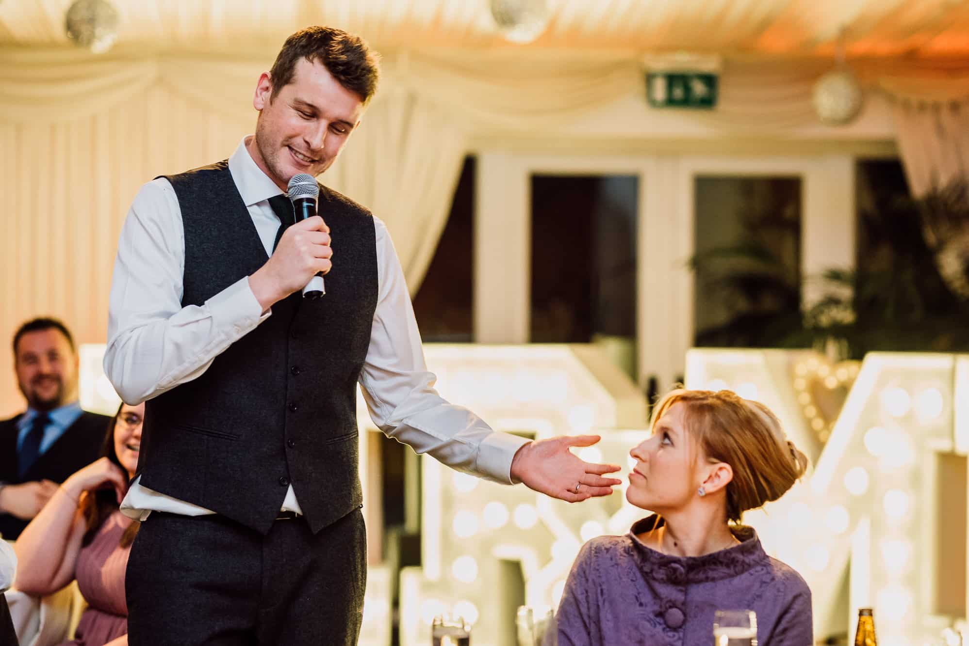 A photo of the groom giving his speech at Heaton House Farm