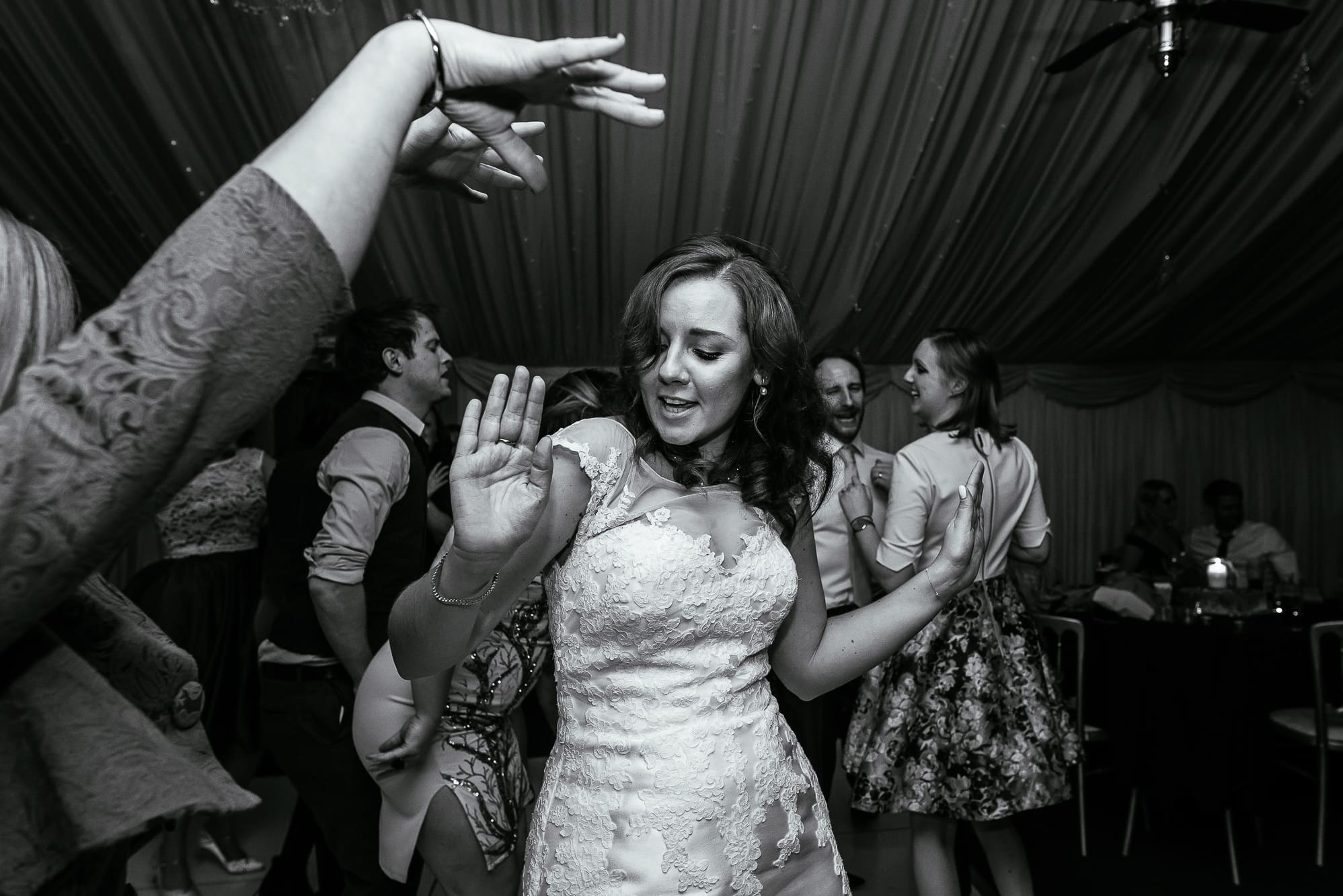 Bride dancing at Heaton House Farm