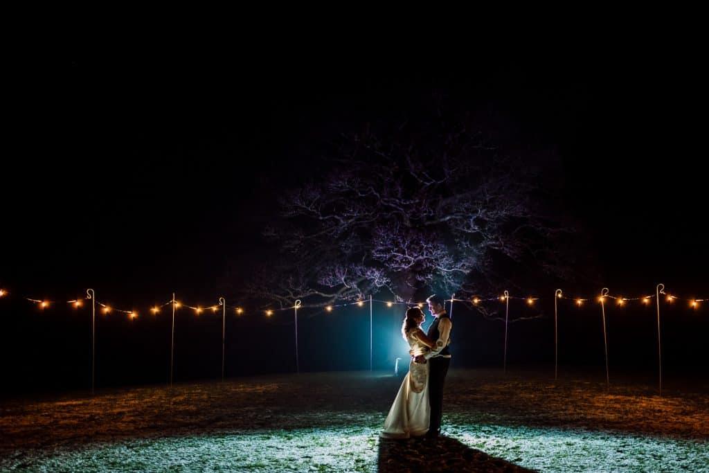 A photo at night at Heaton House Farm using off camera flash