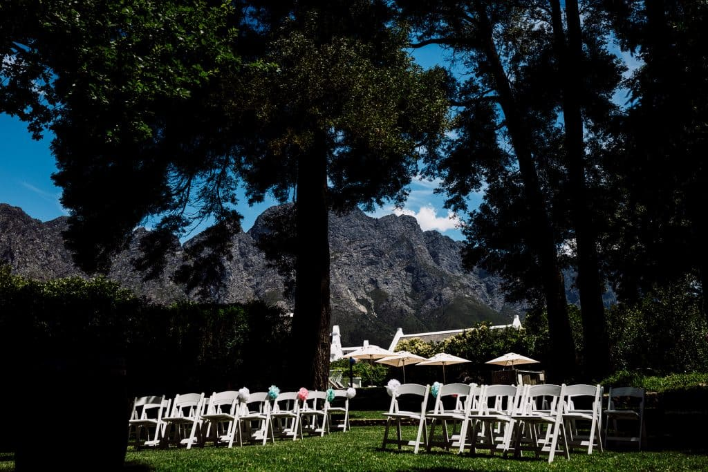 Outdoor wedding at Holden Manz