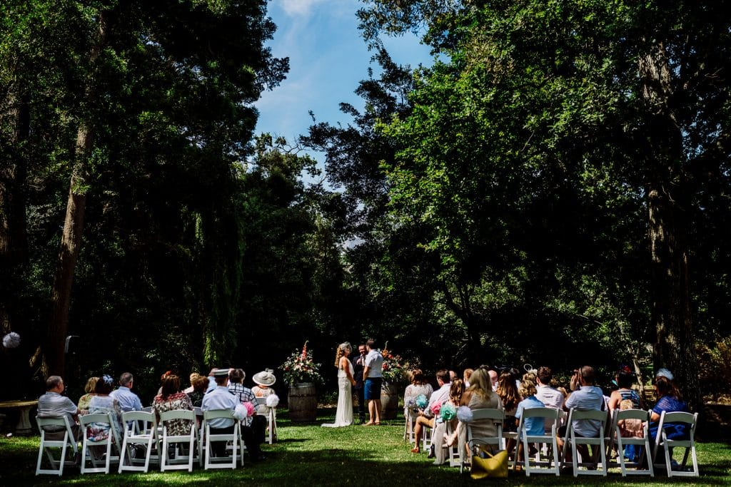Photo of guests in the sunshine during service