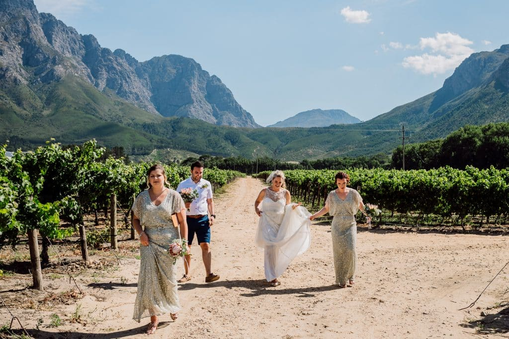 Bride walking through vineyards
