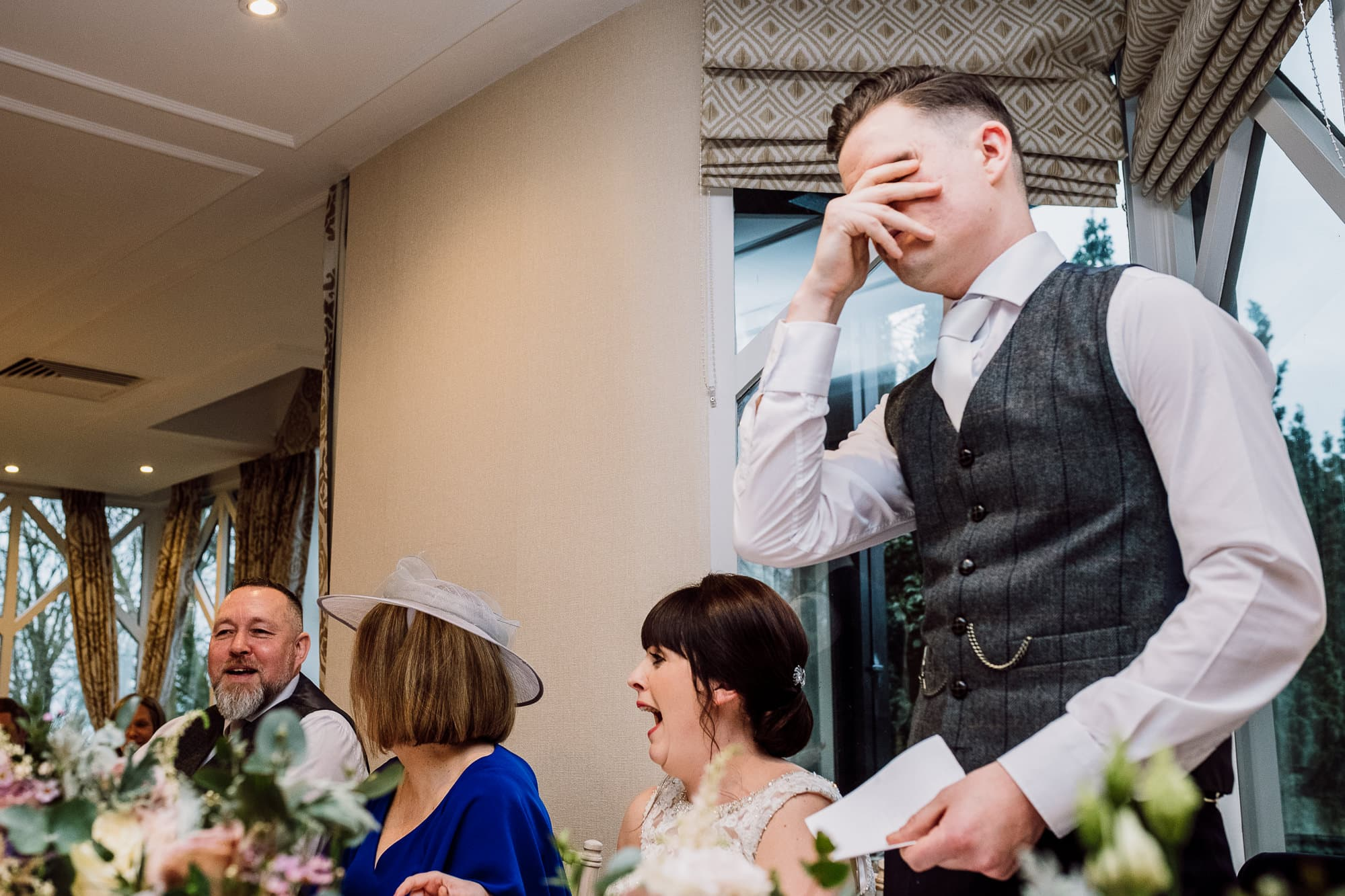 Groom covers his face as Crabwall Manor