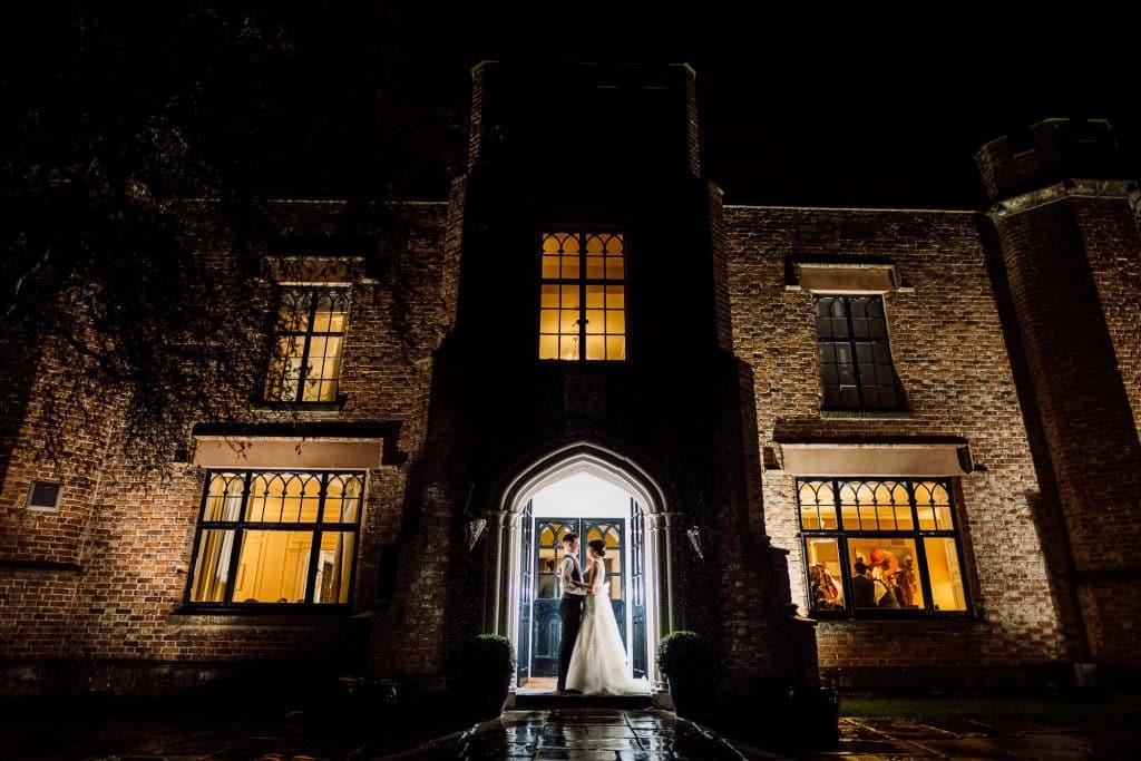 A posed photo at Crabwall Manor at night