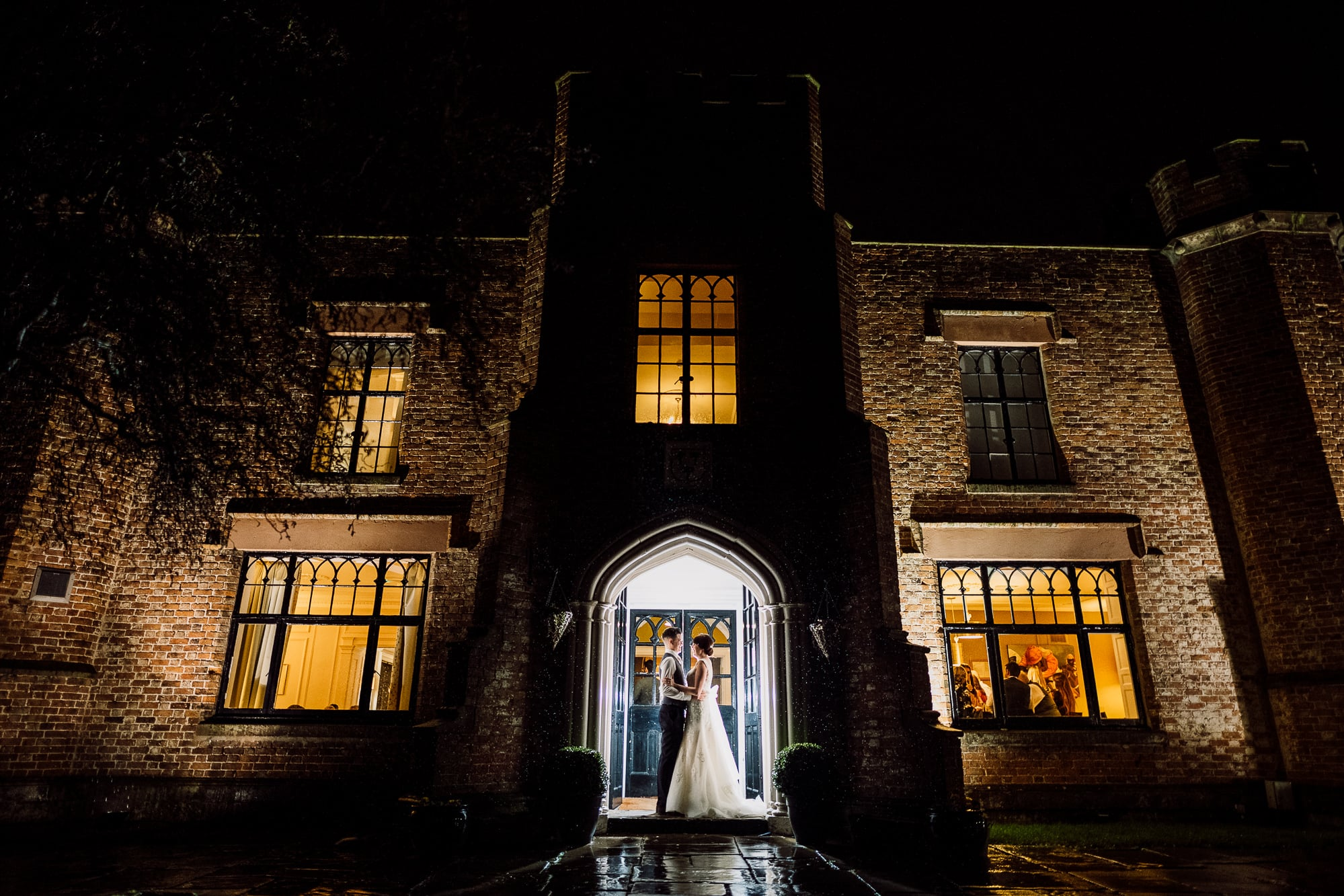 A posed photo at Crabwall Manor at night